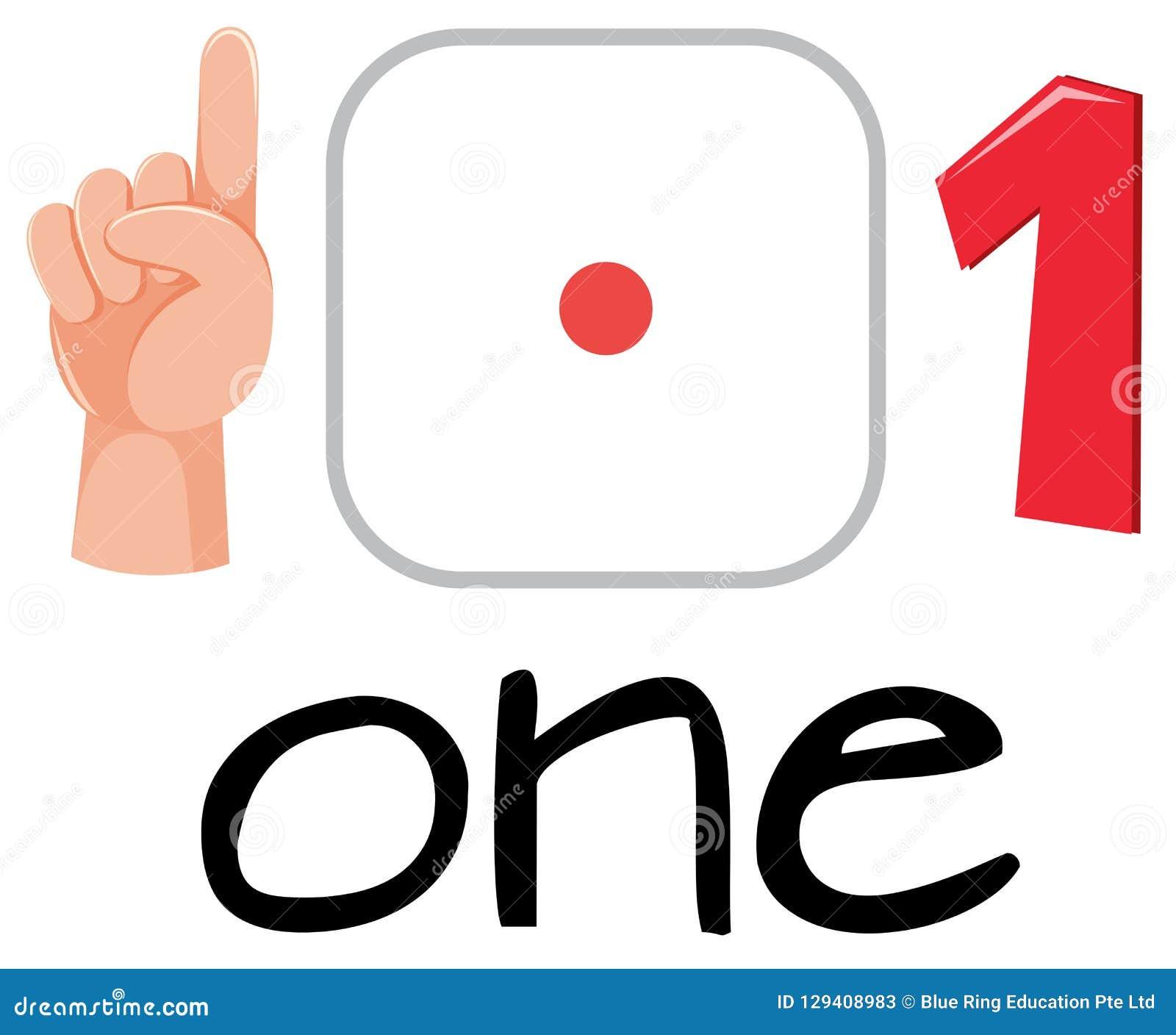 Set of number one symbol