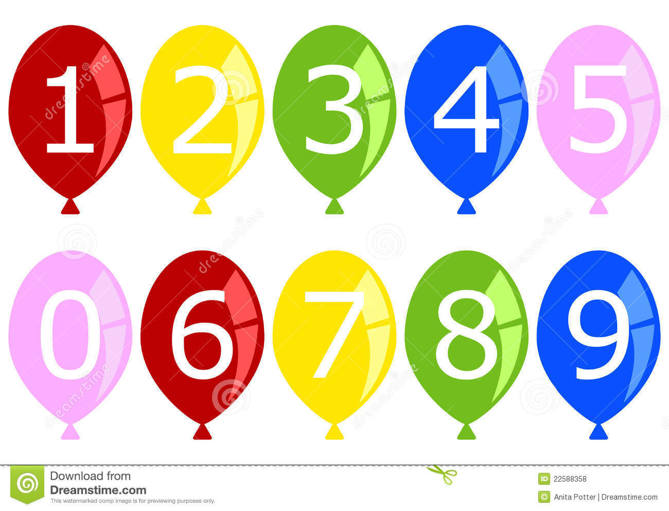 Set of Numbered Birthday Balloons