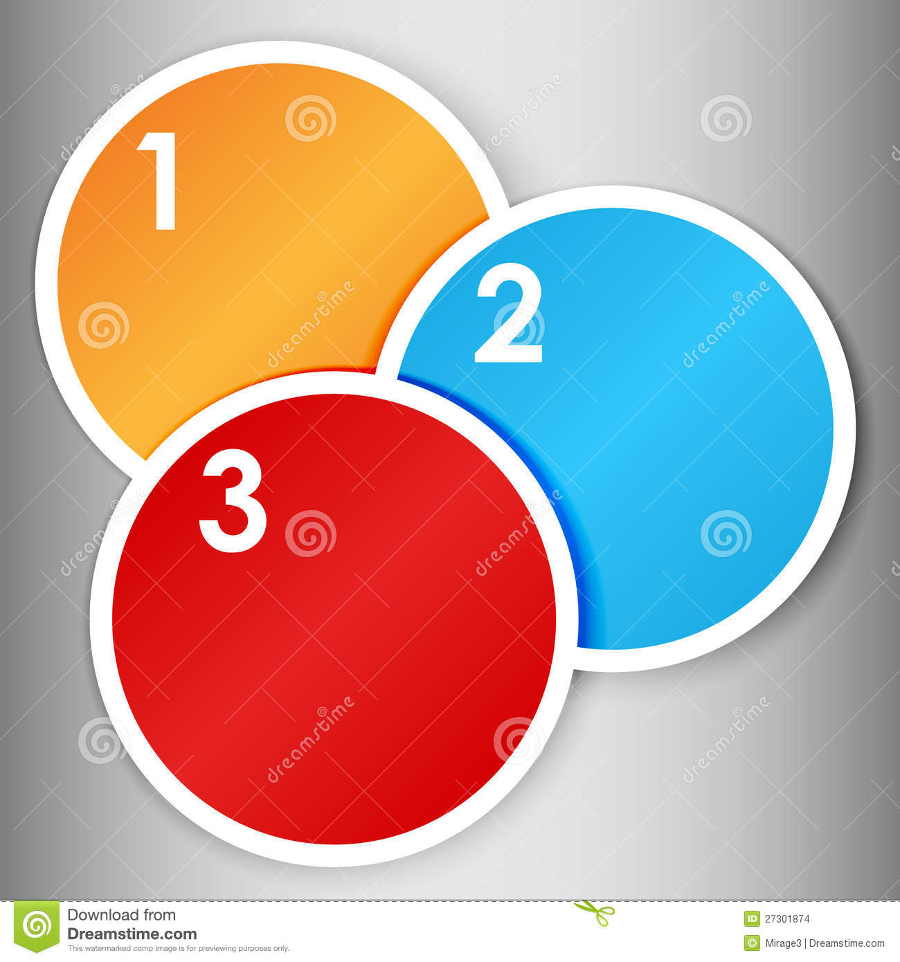Set 1 of colorful round label or stickers in bright colors with 123 numbers in white over light grey gradient background ready for your text