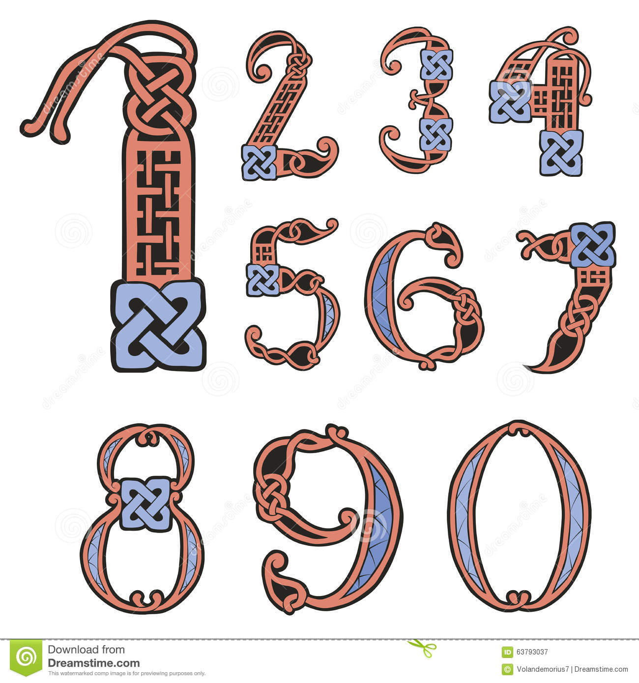 A Set Of Numbers In The Celtic Style Stock Vector Illustration Of