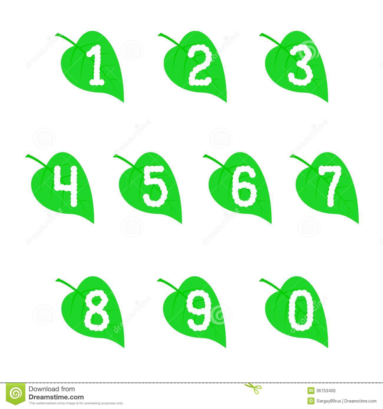 Set Of Numbers On The Leaves. Stock Photo - Image: 36753400