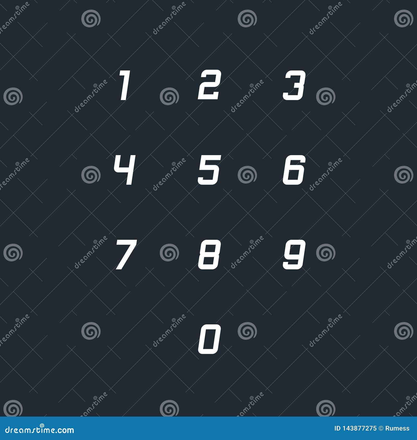 Set 0-9 numerowych ikon r?wnie? zwr?ci? corel ilustracji wektora