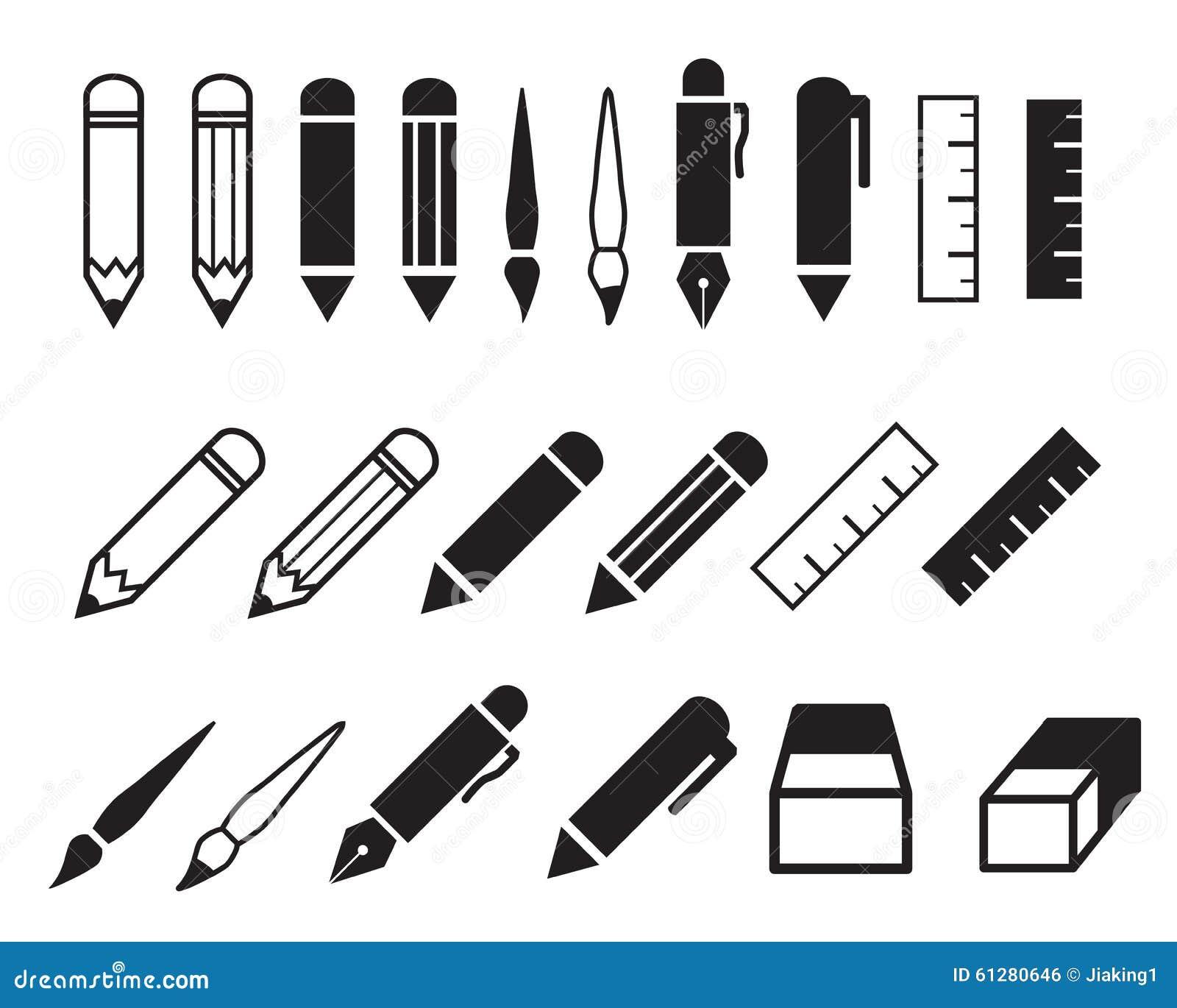 Set ołówka i pióra ikony