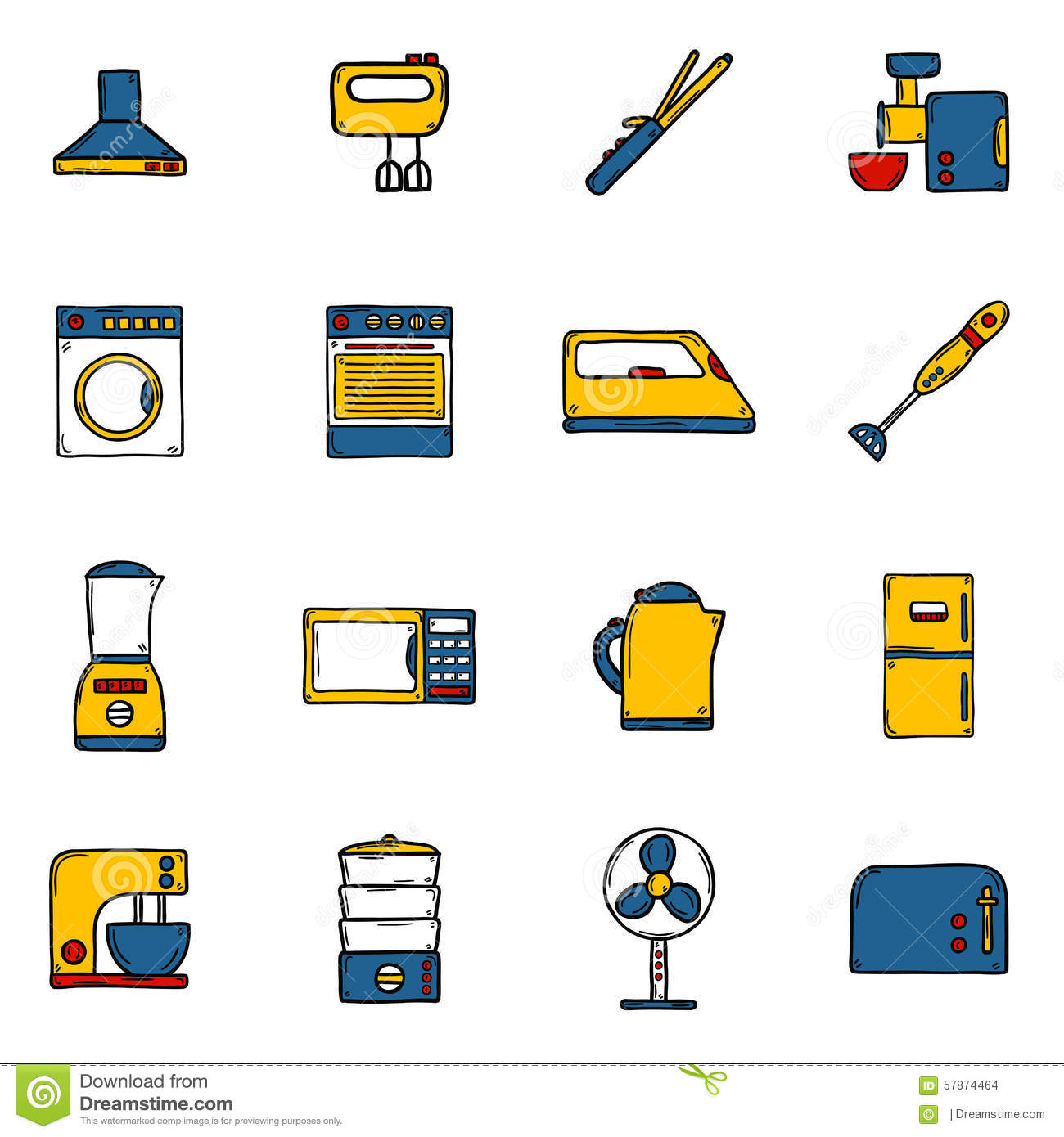 Set Of Objects In Hand Drawn Cartoon Style On Home Stock