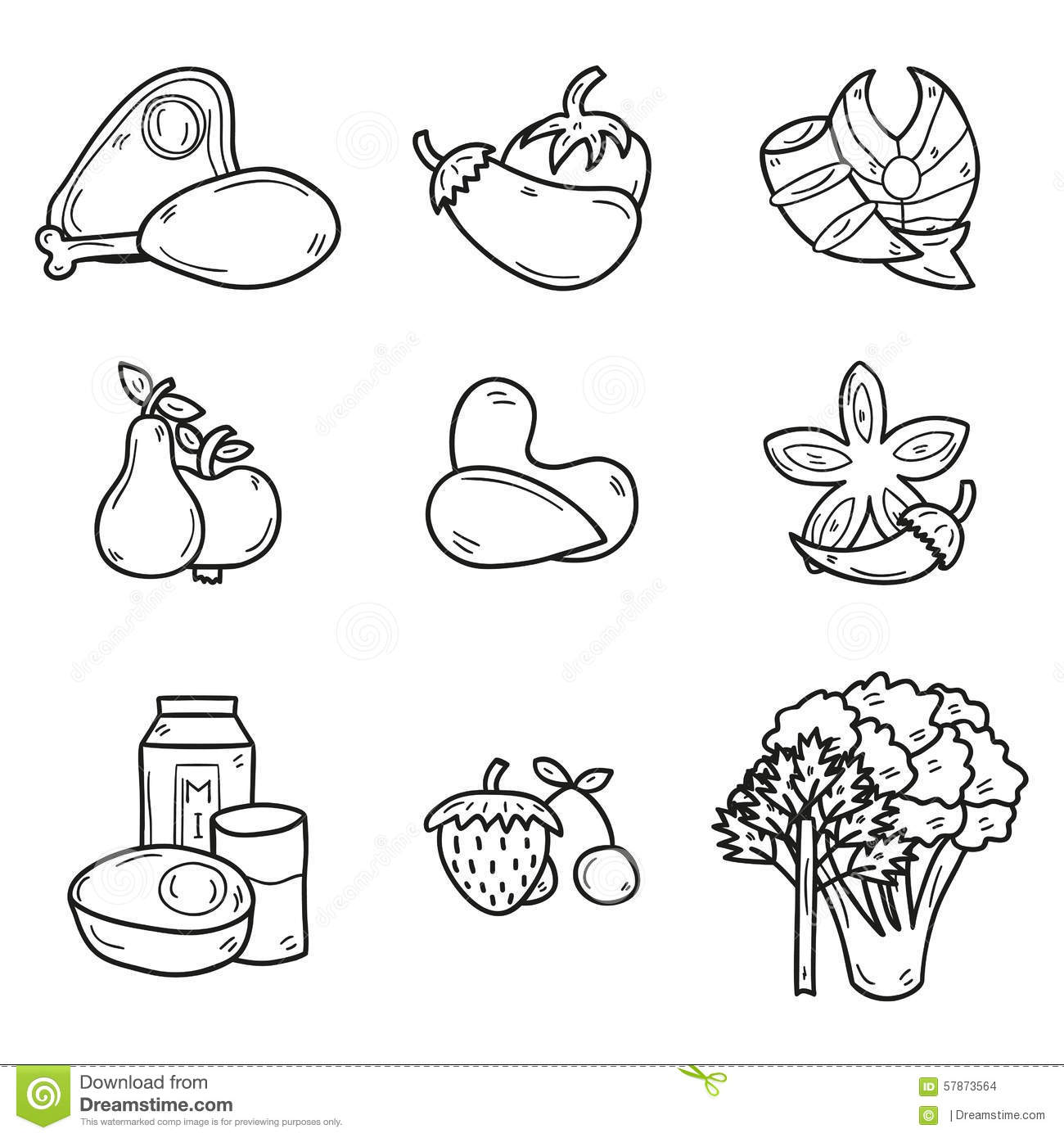 A To Z Fruits And Vegetables Coloring Pages