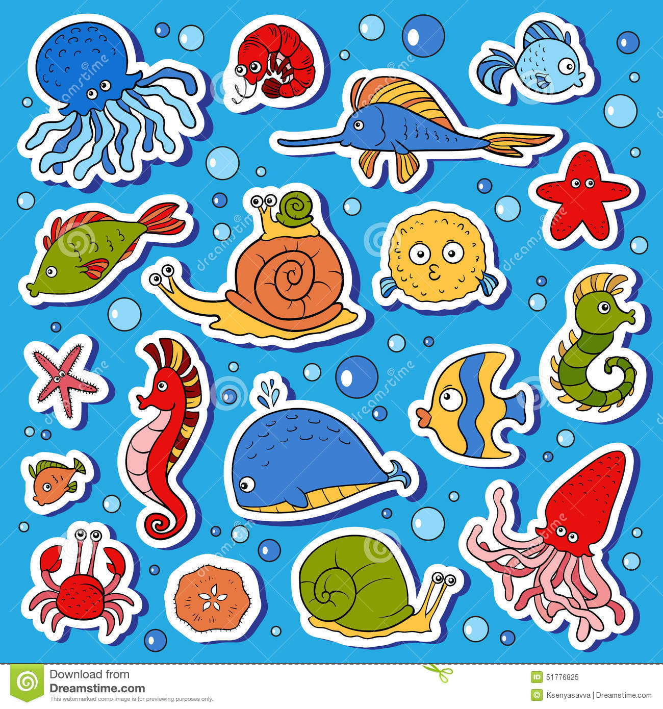 set of ocean animals stickers of fish stock illustration image
