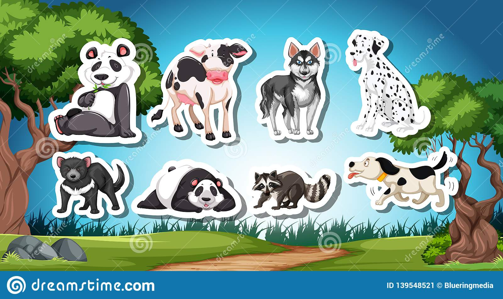 Set Od Black And White Animal Stock Vector Illustration of picture