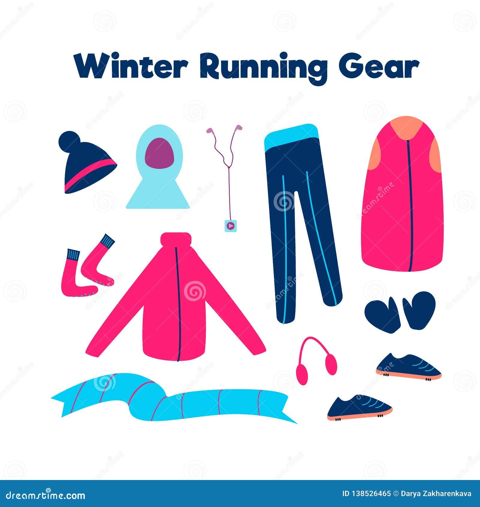Set odziewa dla biegać w zimnej pogodzie odizolowywającej na białym tle również zwrócić corel ilustracji wektora Zima bieg przekł