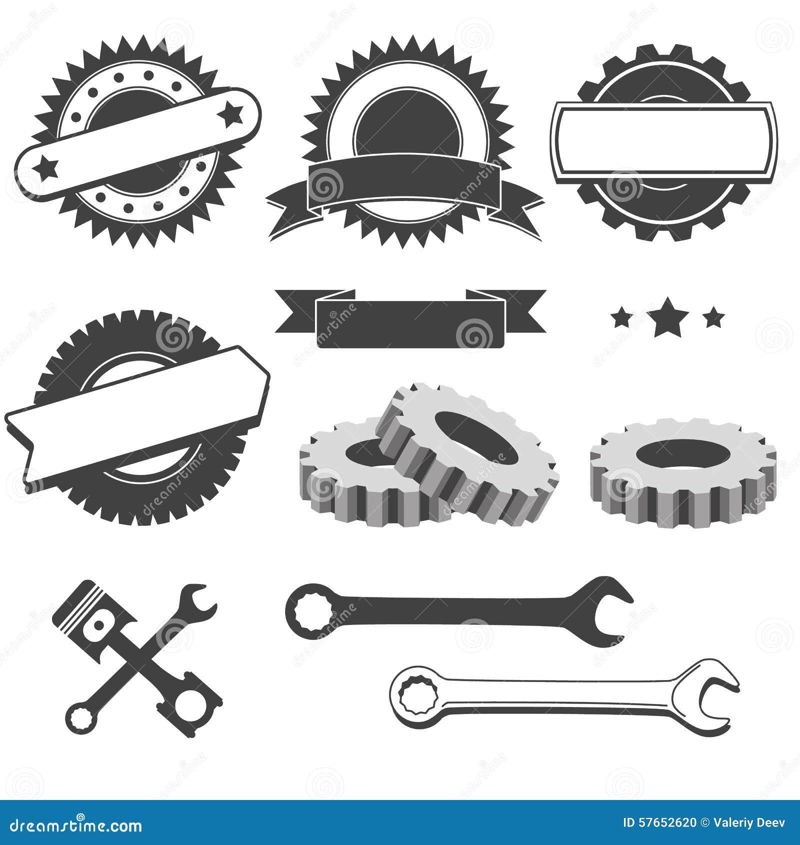 Set odznaka, emblemat, logotypu element dla mechanika, garaż, samochód naprawa, samochód usługa