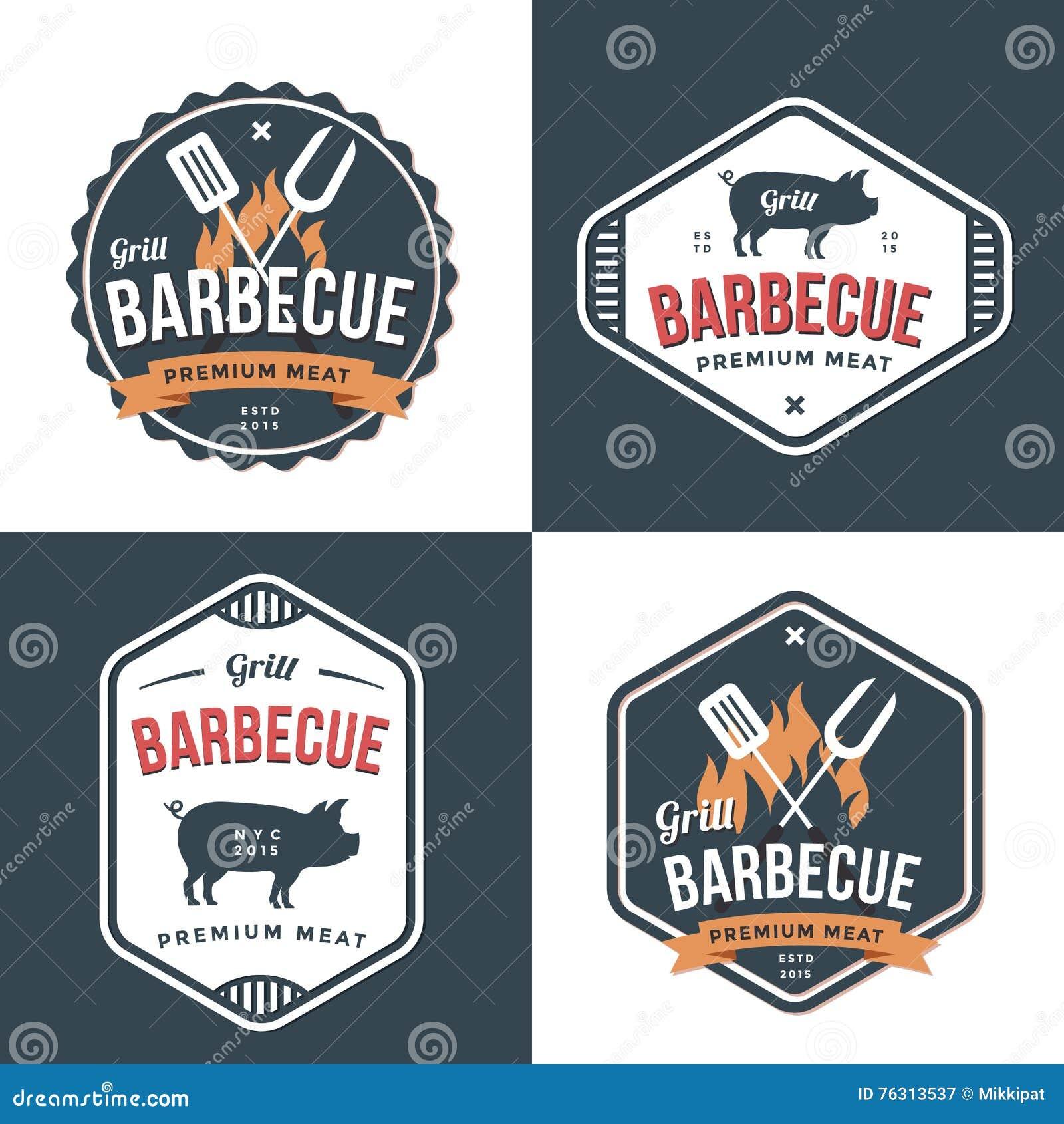 Set odznaki, etykietki, logowie dla restauraci, foods wieprzowiny sklep i grill, Prosty i minimalny projekt