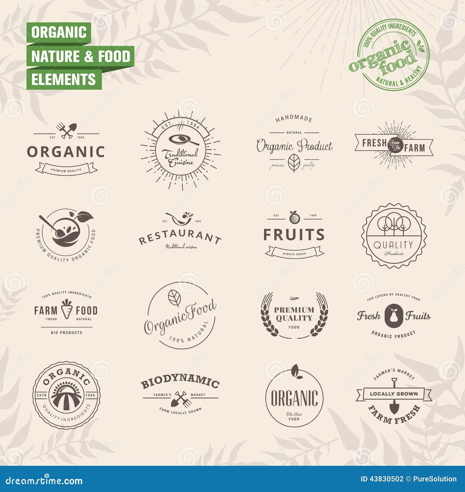 Set odznaki i etykietka elementy dla organicznie