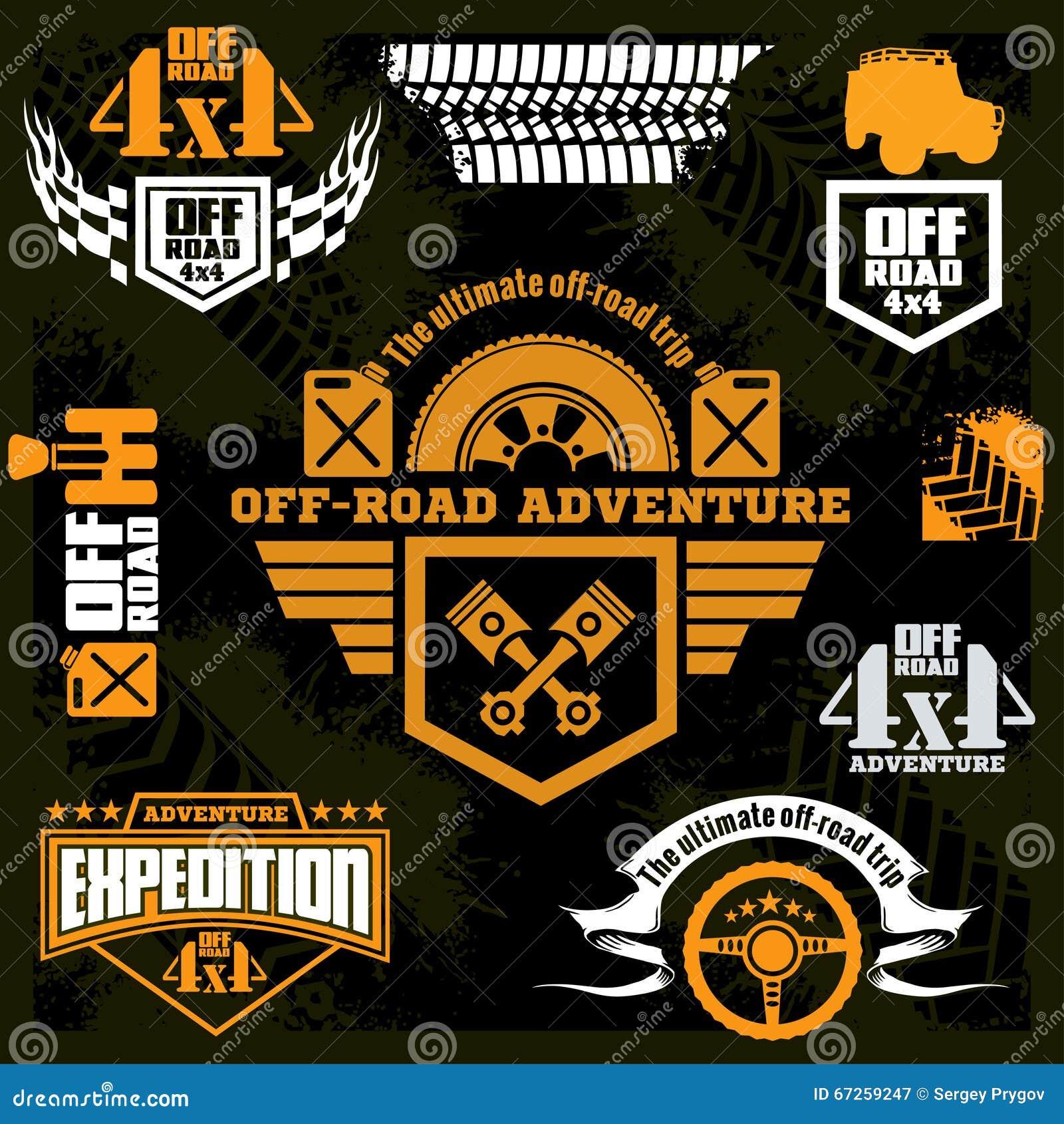 Design car club logo - Set Off Road Suv Car Emblems Design Elements Badges And Icons