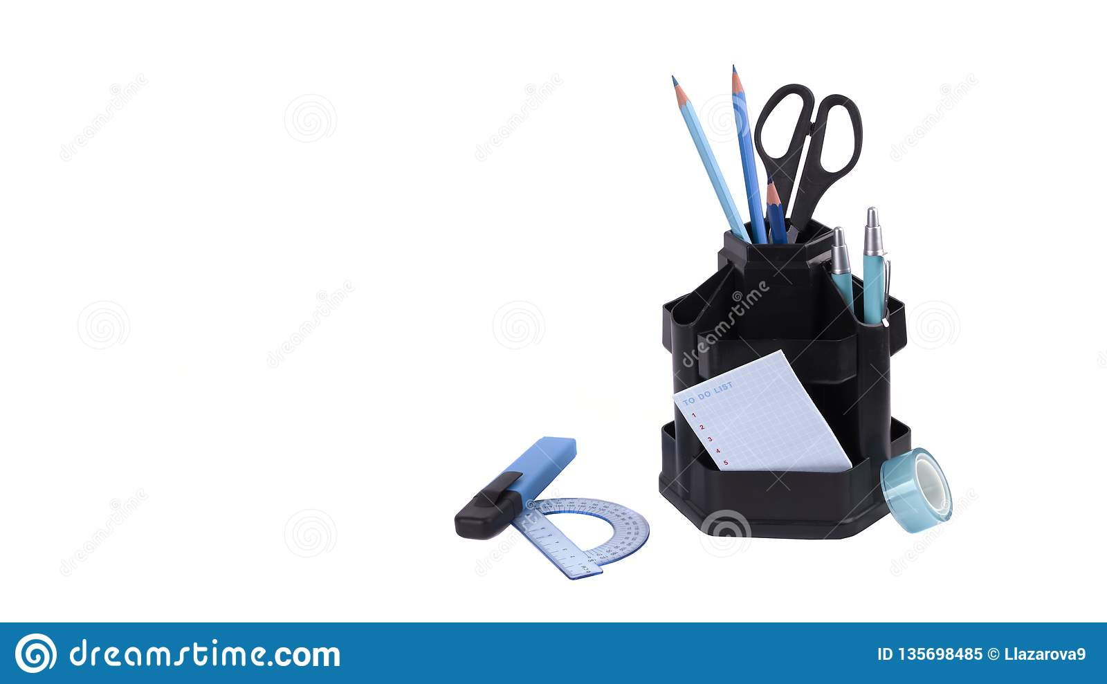 Set of office accessories. It is isolated on a white background