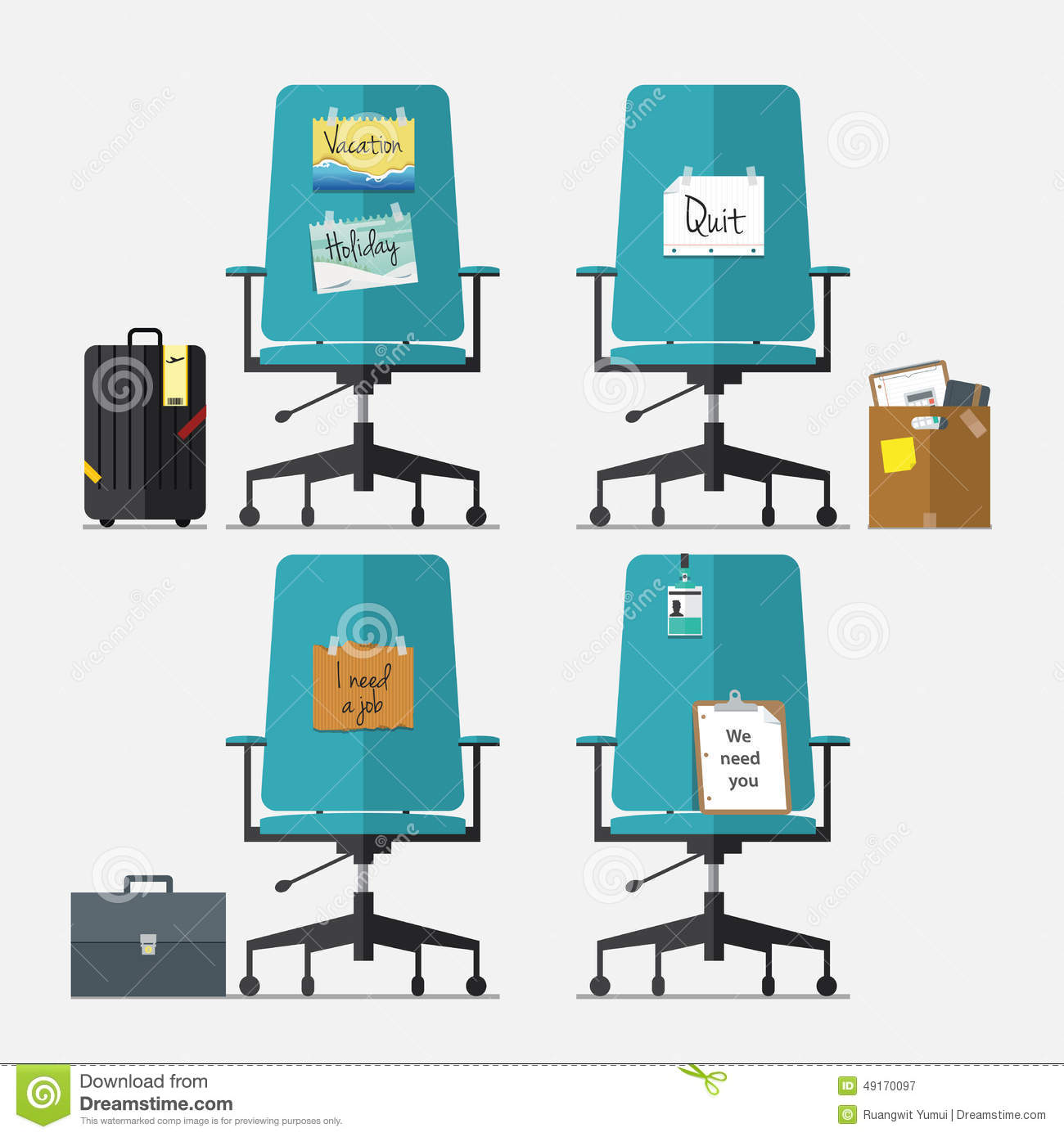 Set Of Office Chair In Flat Design With Resign Message