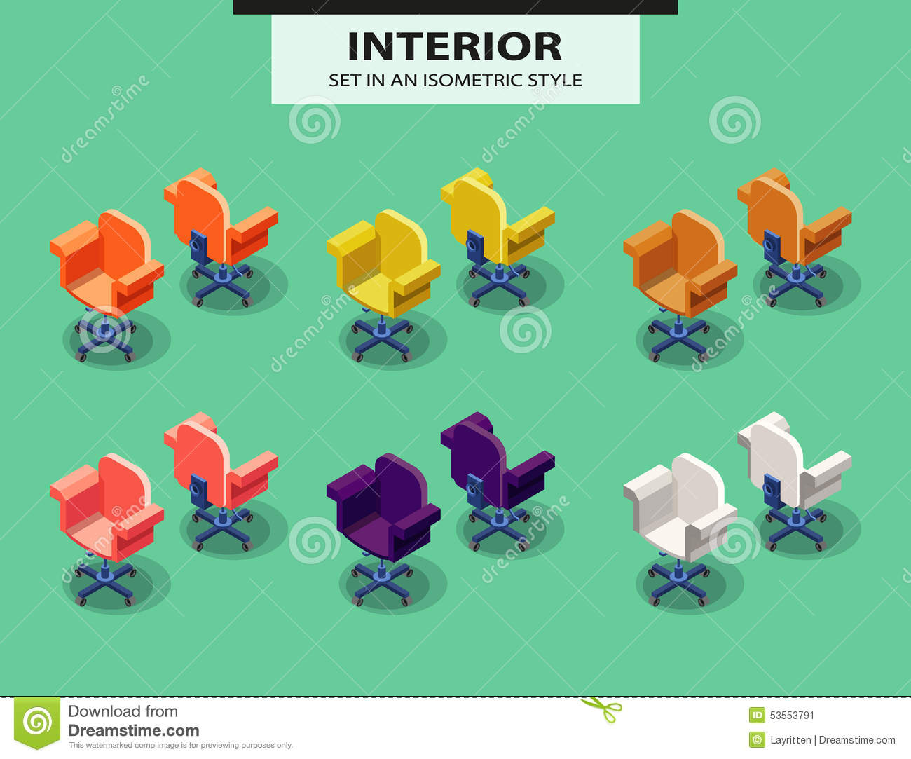 isometric office furniture vector collection. isometric office set style vector soft chair furniture collection