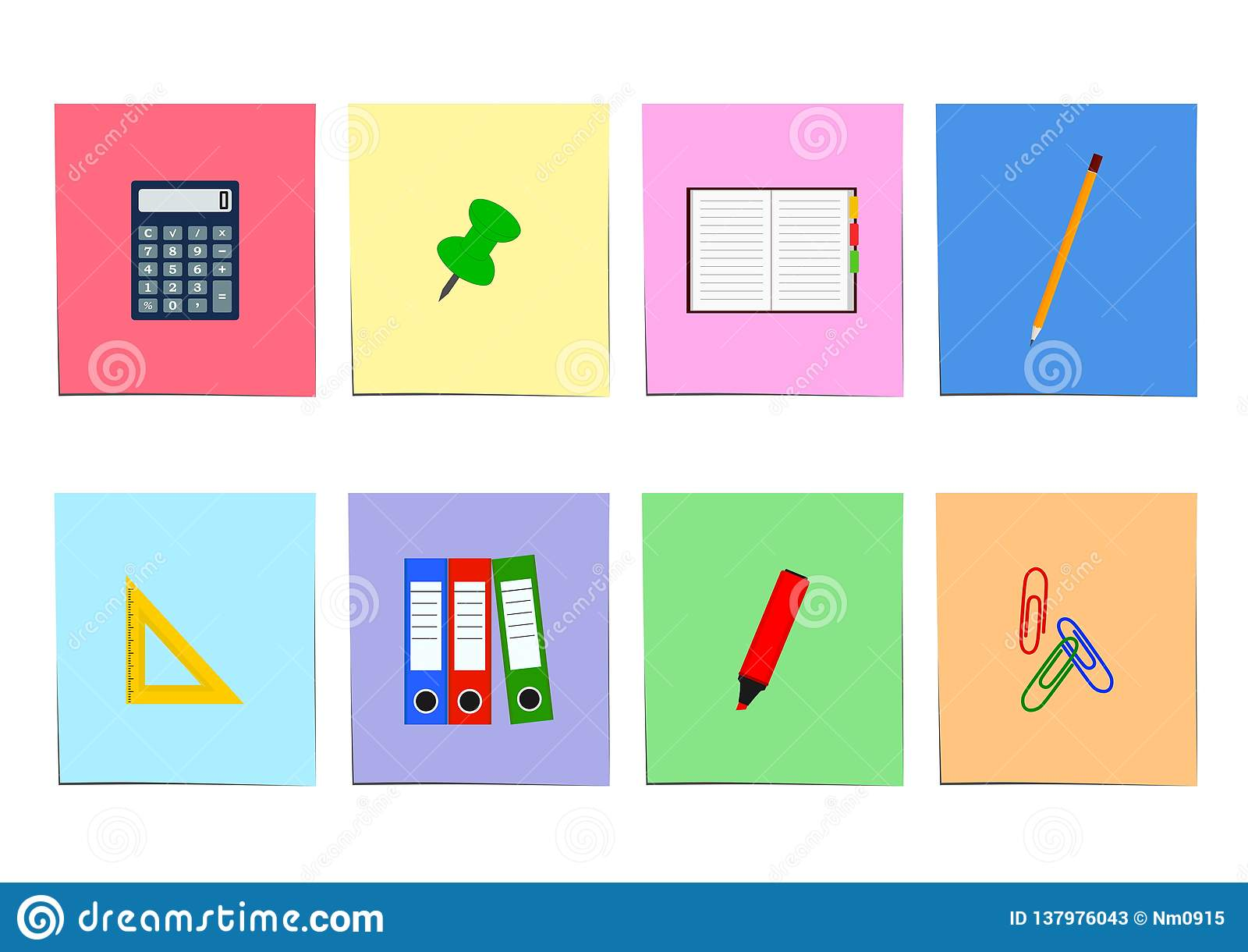Set Of Office Items On Colored Sheet Of Paper Stock Vector