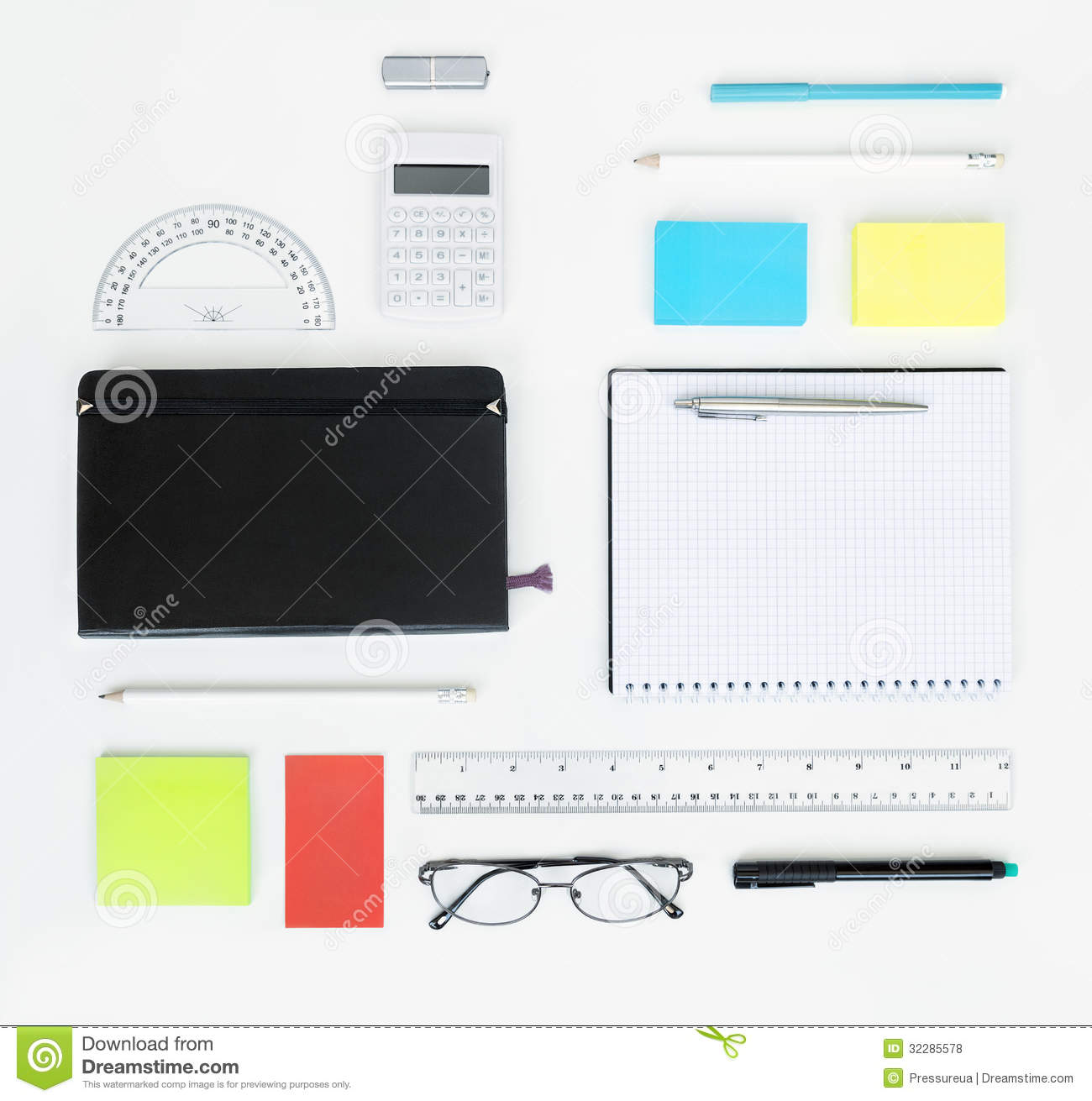 Set of office items