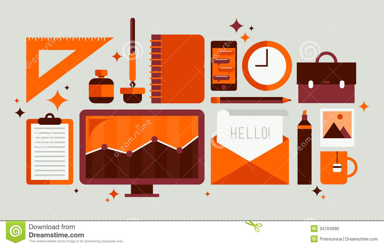 Set of office tools illustration stock vector for Office layout tool