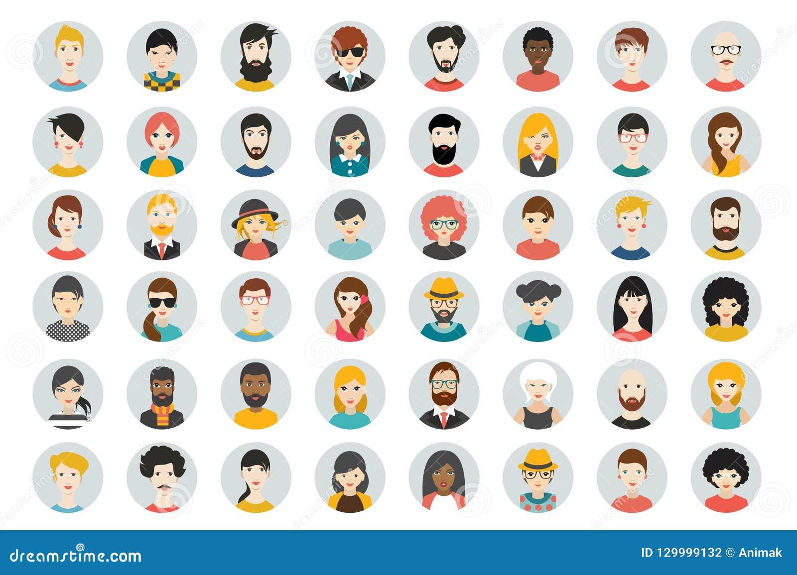 Set okregów persons, avatars, ludzie przewodzi różną narodowość w mieszkanie stylu