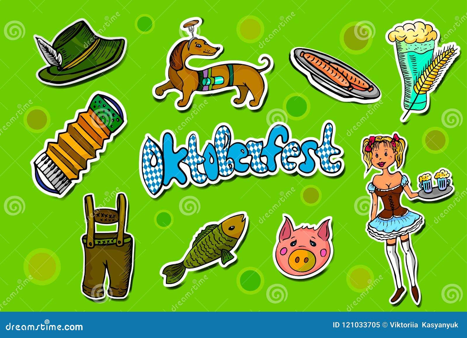 Set of Oktoberfest cartoon stickers.