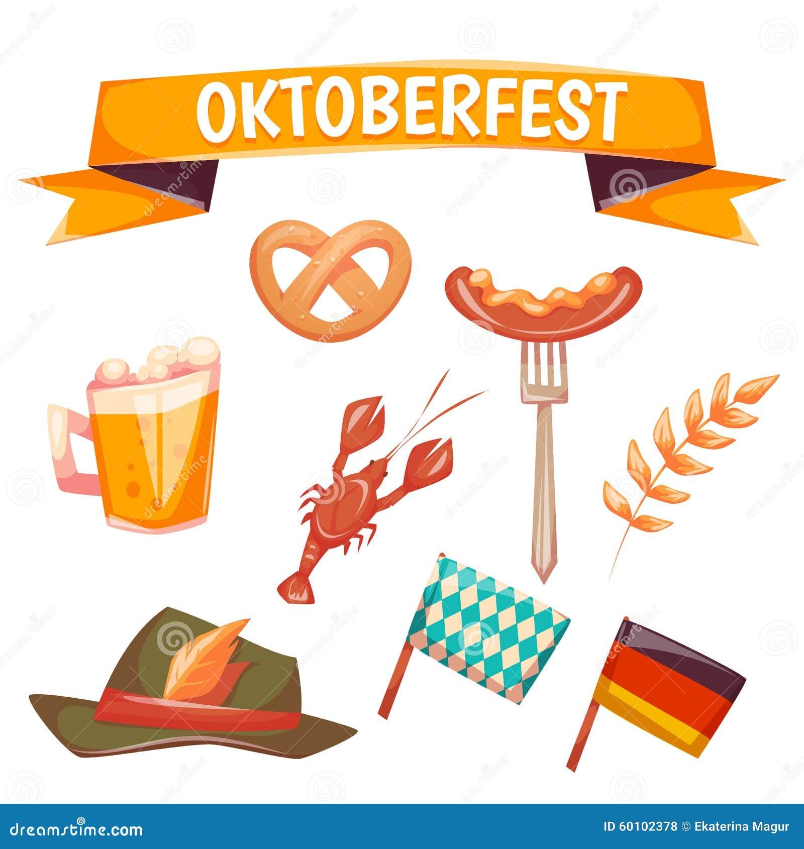 Set With Oktoberfest Celebration Symbols Vector Editorial Stock