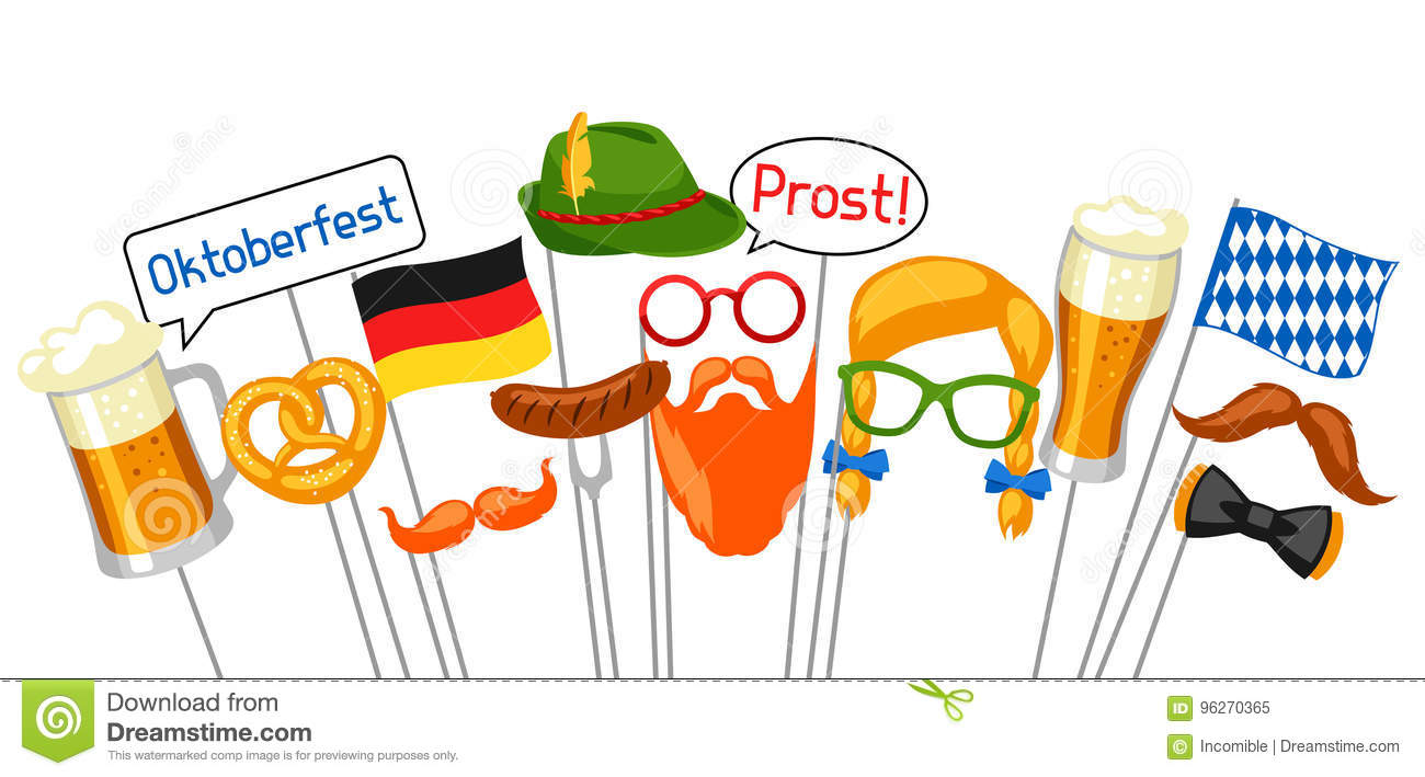 Set Of Oktoberfest Photo Booth Props Accessories For Festival And