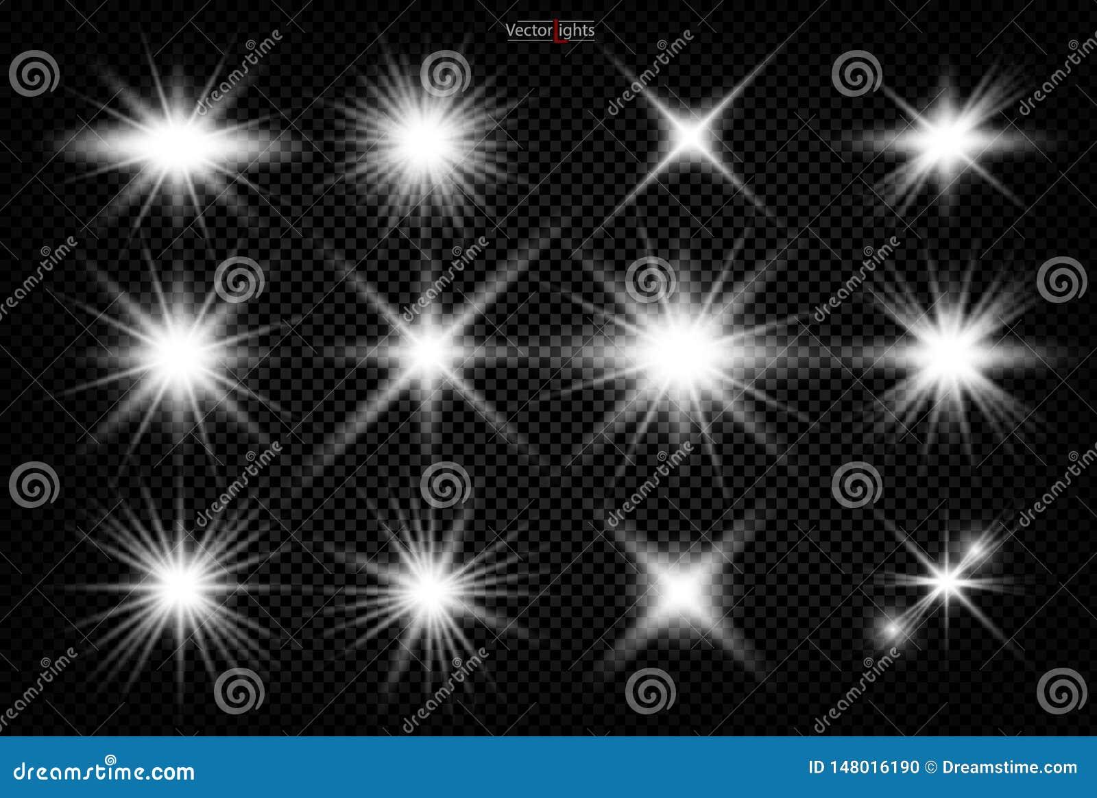 Set Olśniewająca gwiazda słońce cząsteczki