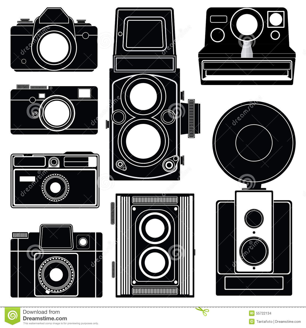Set Of Old Classic Camera Silhouette On White Background ...