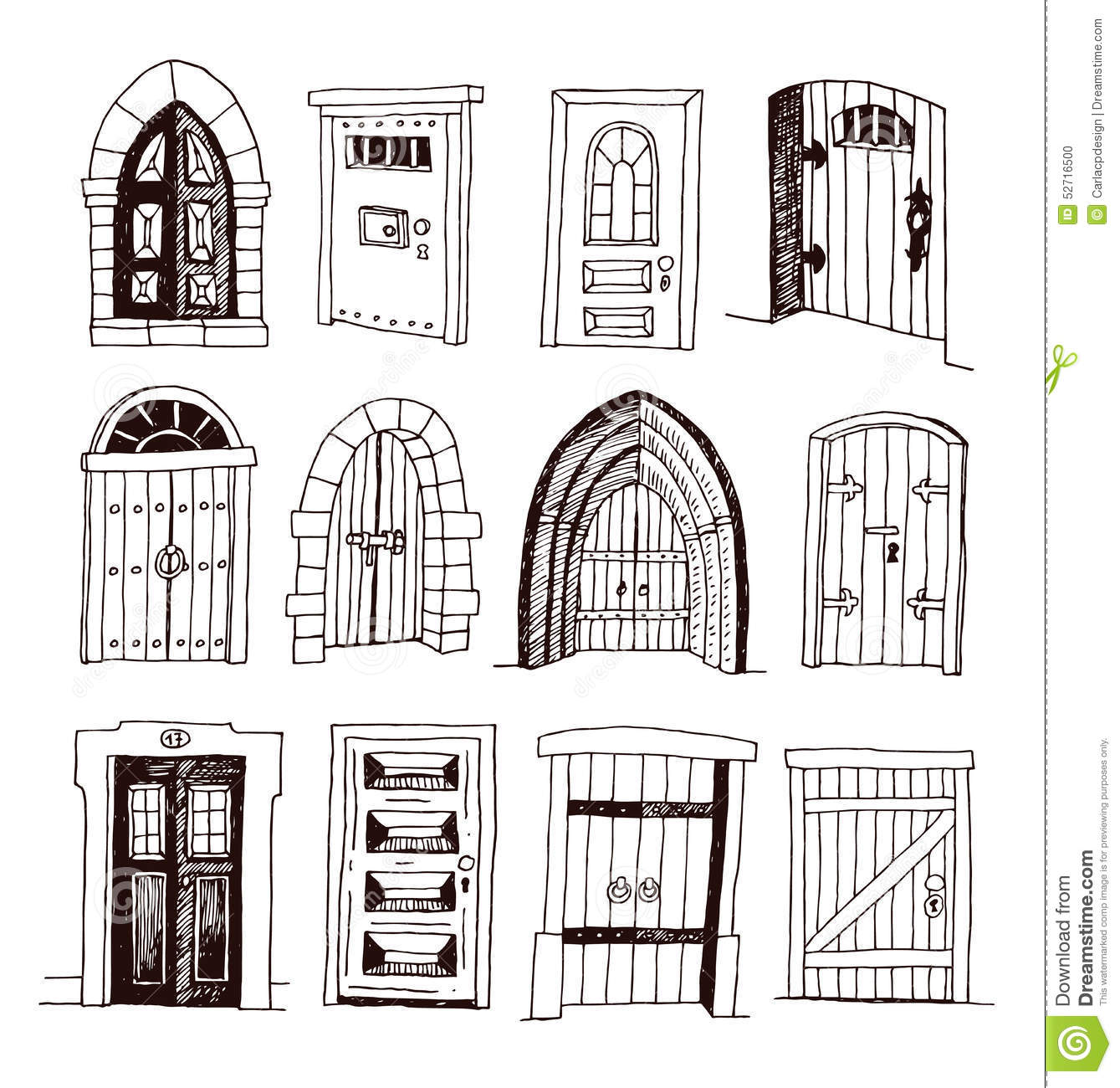 Set Of Old Door Icon Illustration Vector Stock Vector