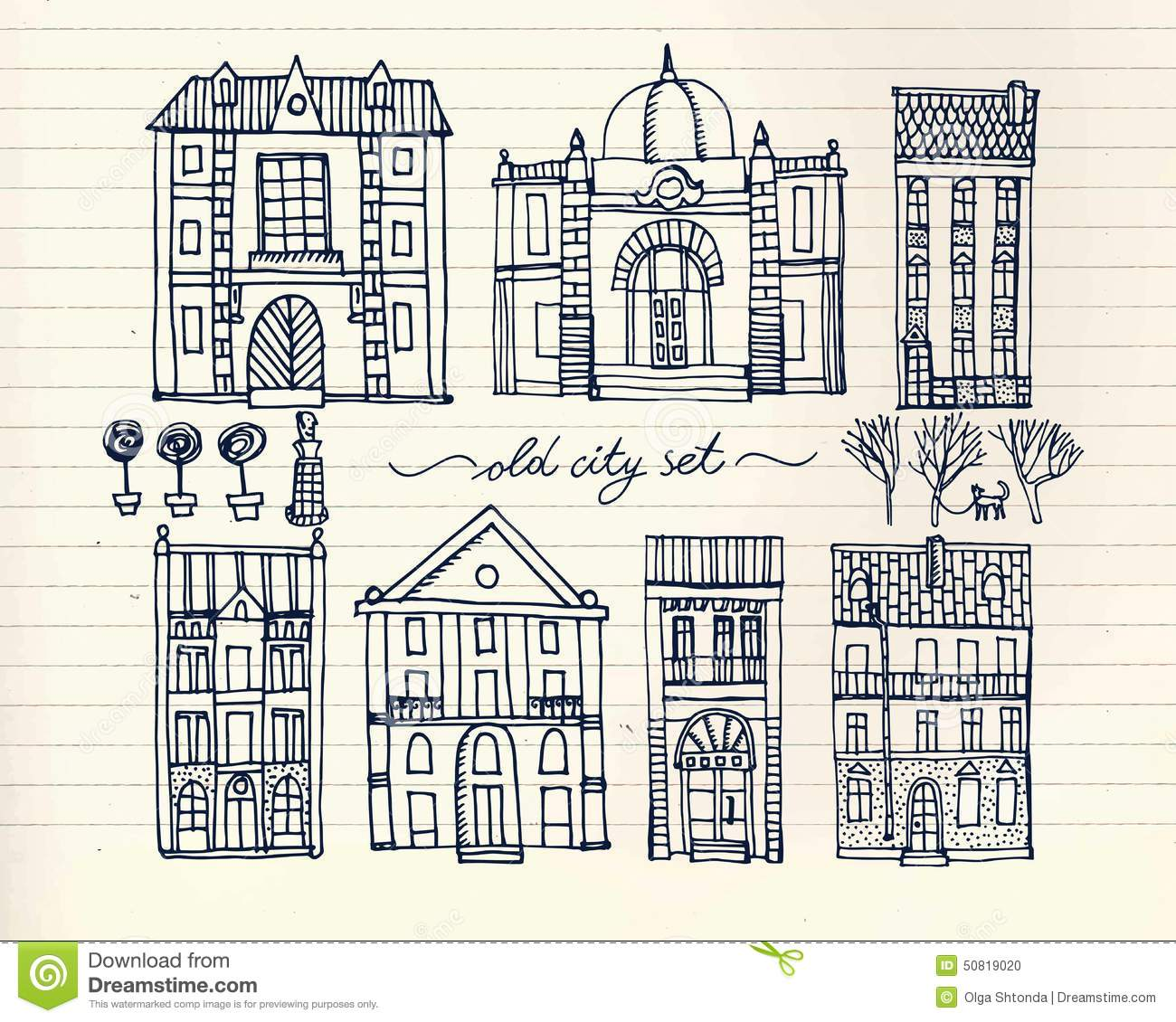 Set Of Old Hand Drawn Vintage Houses On Paper Background