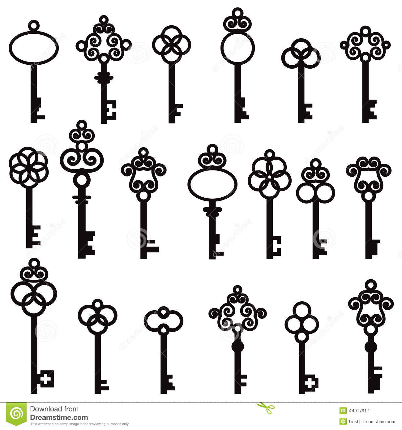 Vector Key Illustration: Set Of Old Keys With Decorative Elements In Retro Style