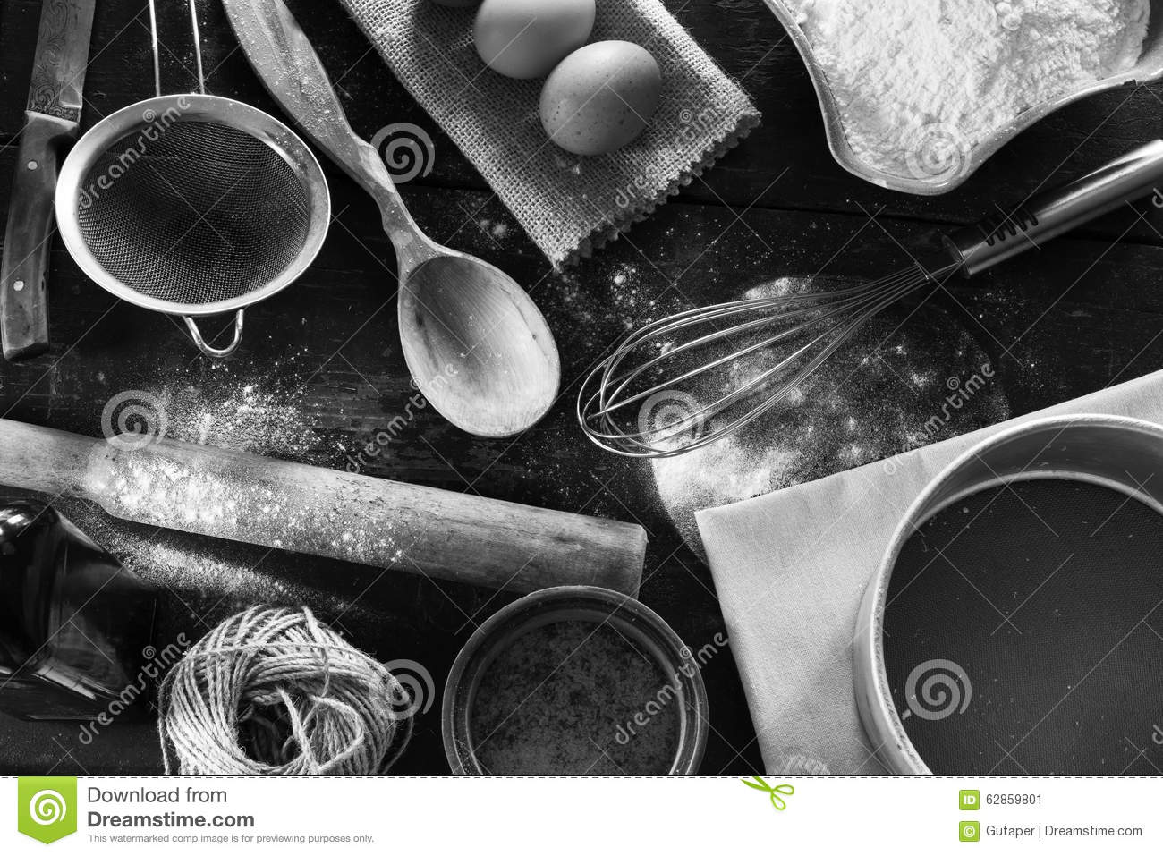 A Set Of Old Kitchen Items Black And White Photo Stock