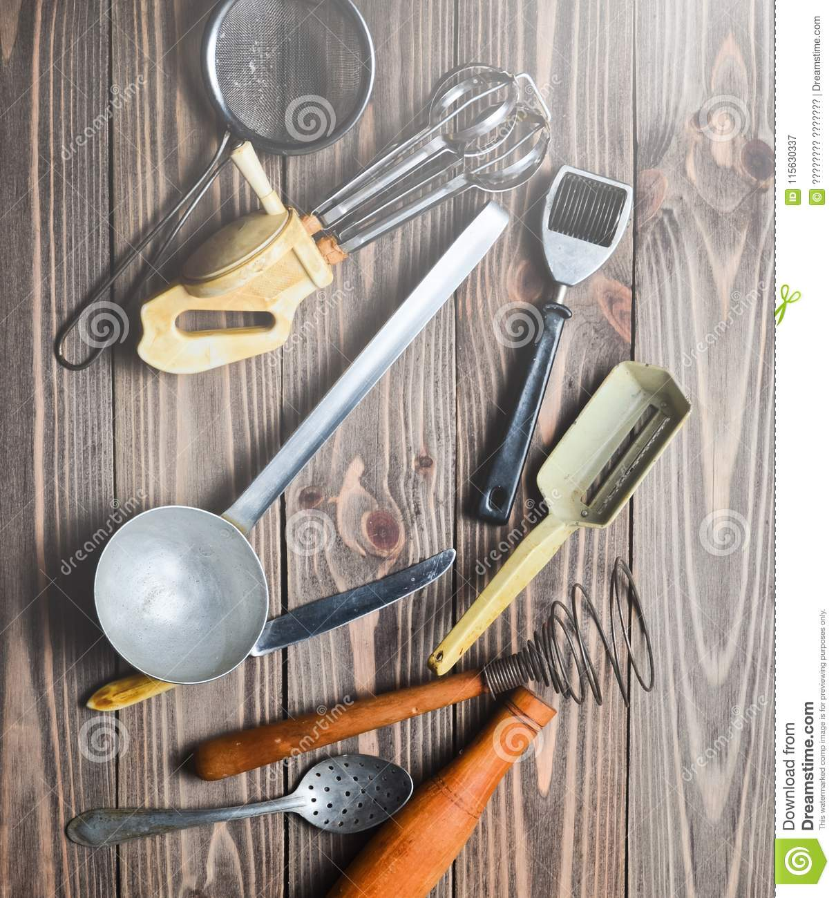 A Set Of Old Kitchen Tools And Cutlery On A Wooden Table Stock Image Image Of Decoration Brown 115630337