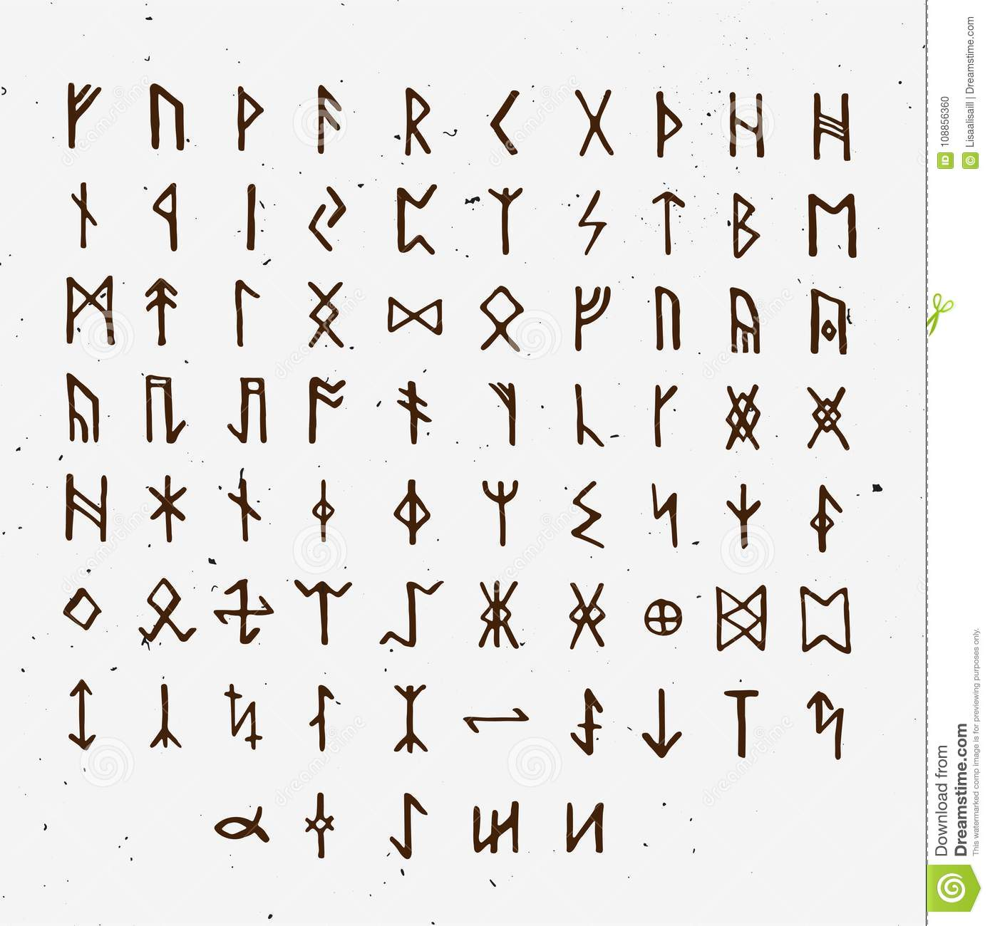 Set Of Old Norse Scandinavian Runes Runic Alphabet Futhark