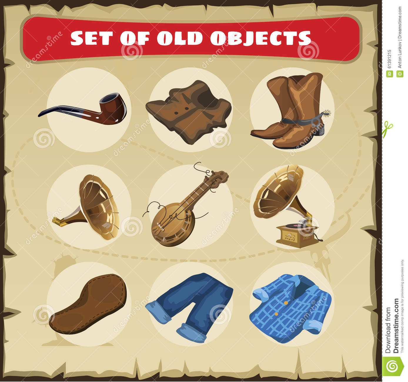 Set of old objects vest boots and other stock for Old objects
