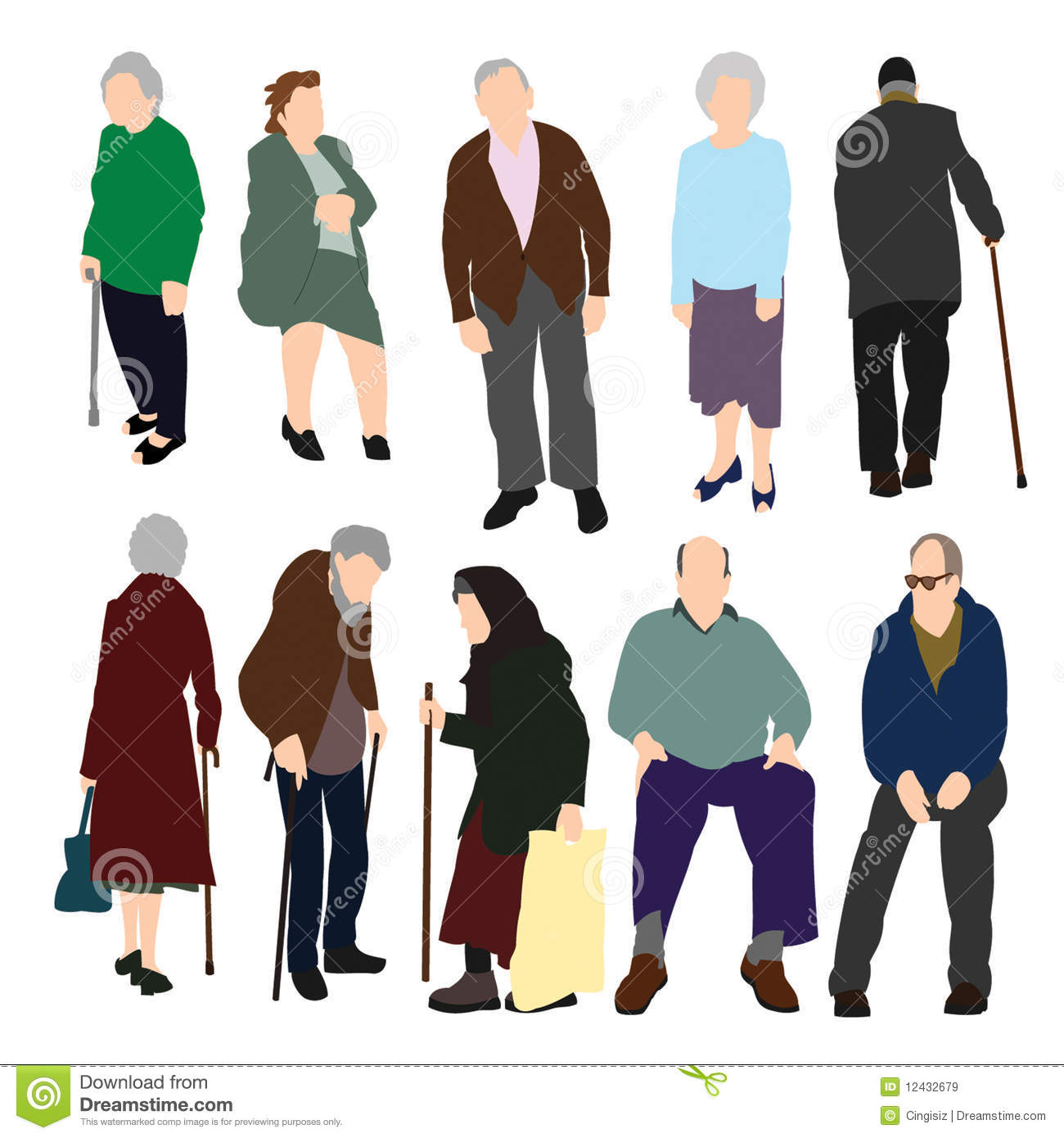 Set Of Old People Royalty Free Stock Images - Image: 12432679