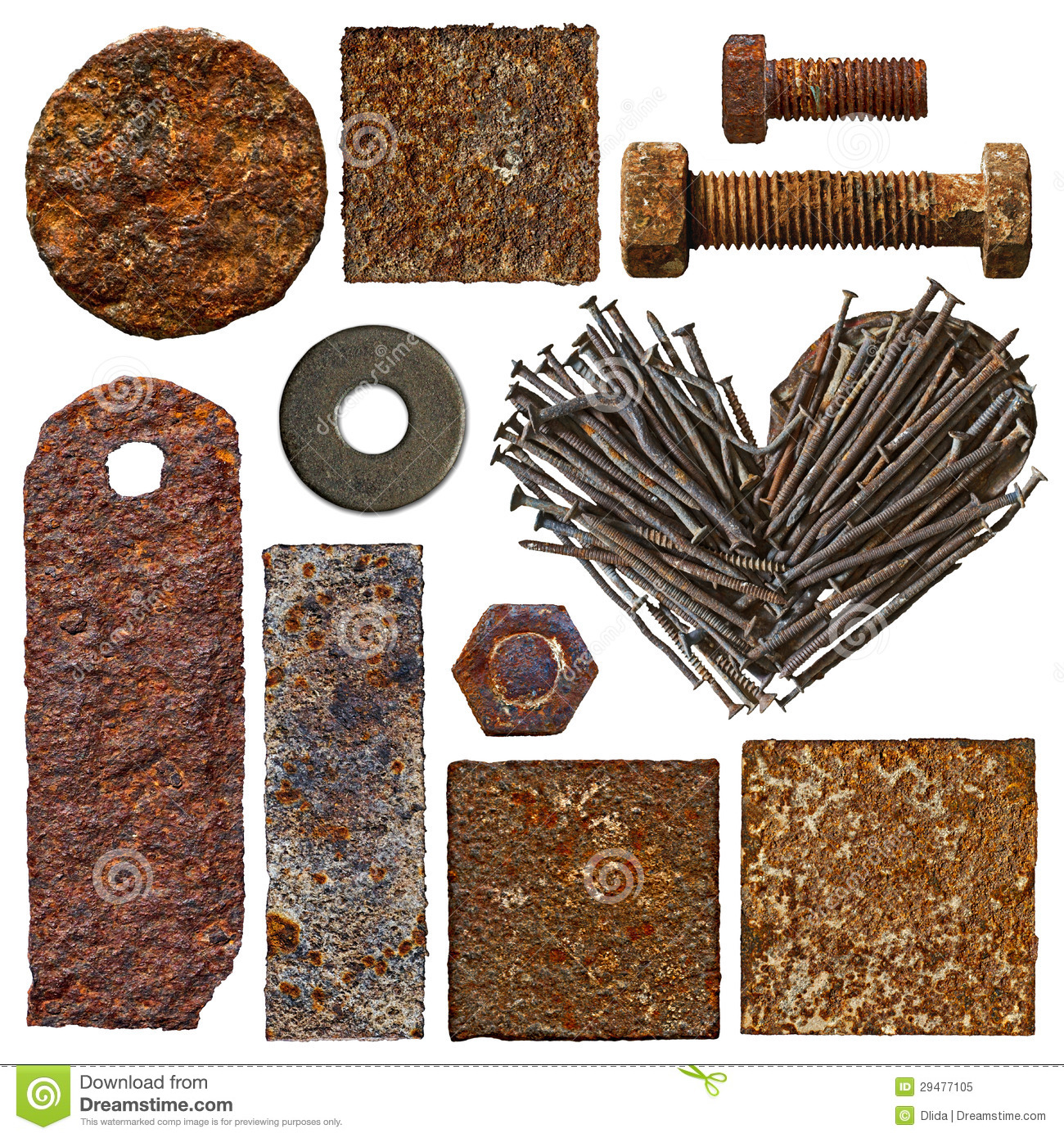 Set of old rusty objects stock image. Image of parts ...