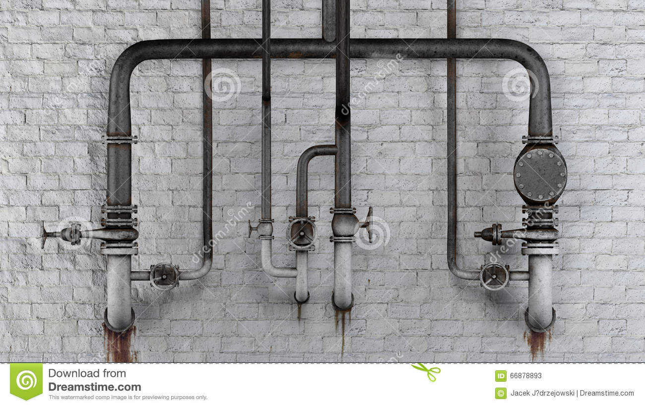 Set of old, rusty pipes and valves against white classic brick wall with leaking stains