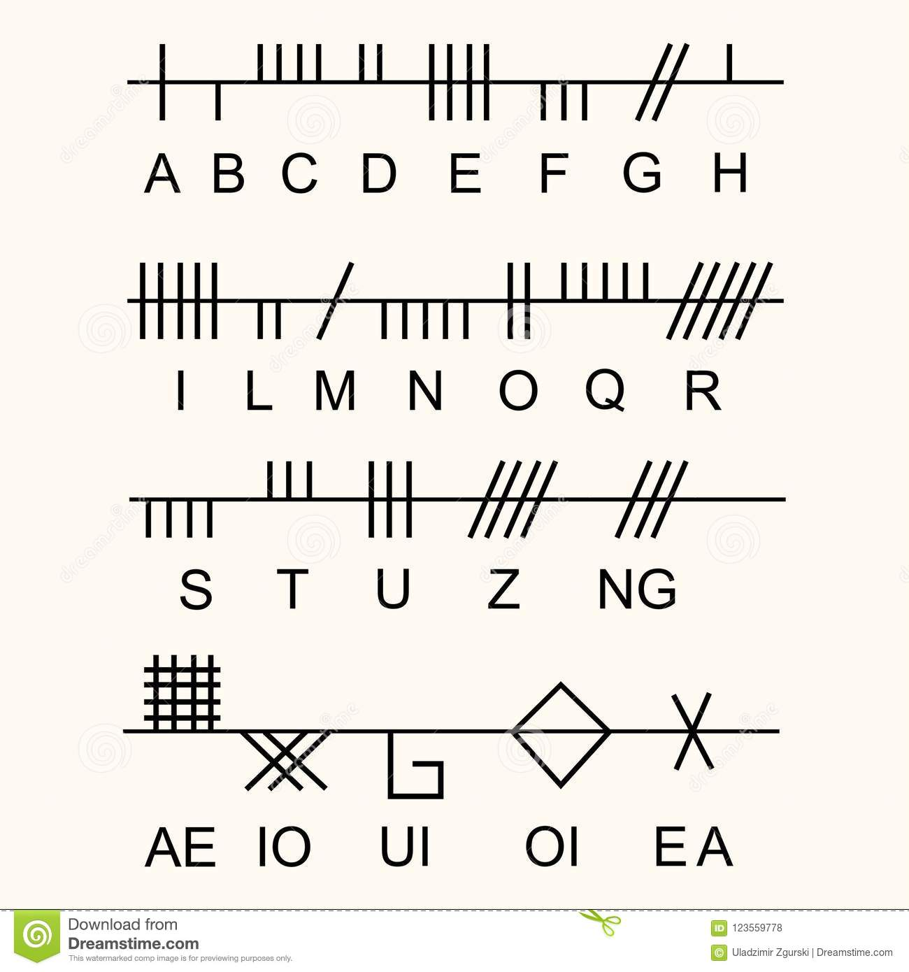 Set Of Old Sacred Celtic Ogham Alphabet Ancient Occult Symbols