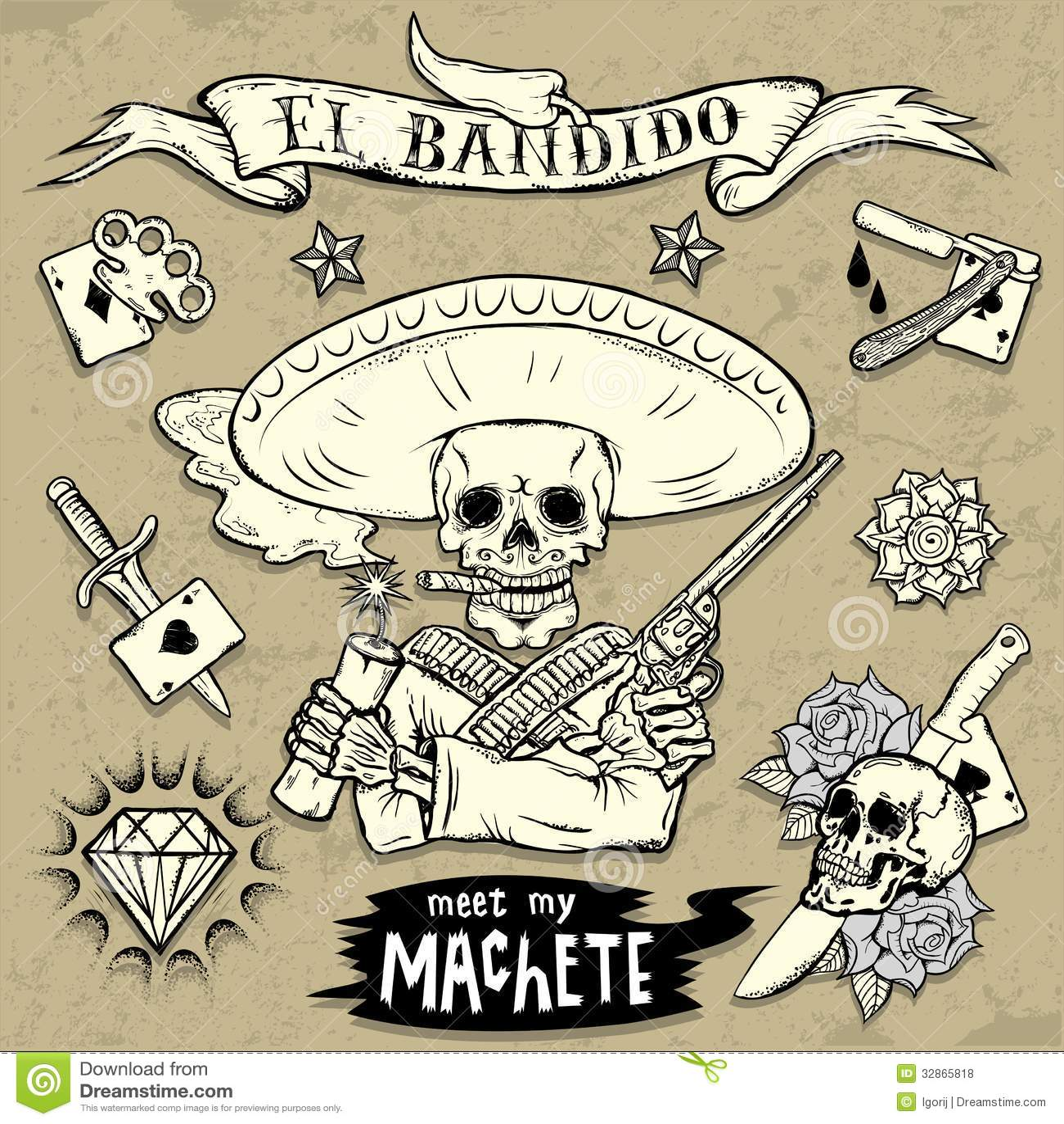 Set Of Old School Tattoo Elements Illustration 32865818 Megapixl