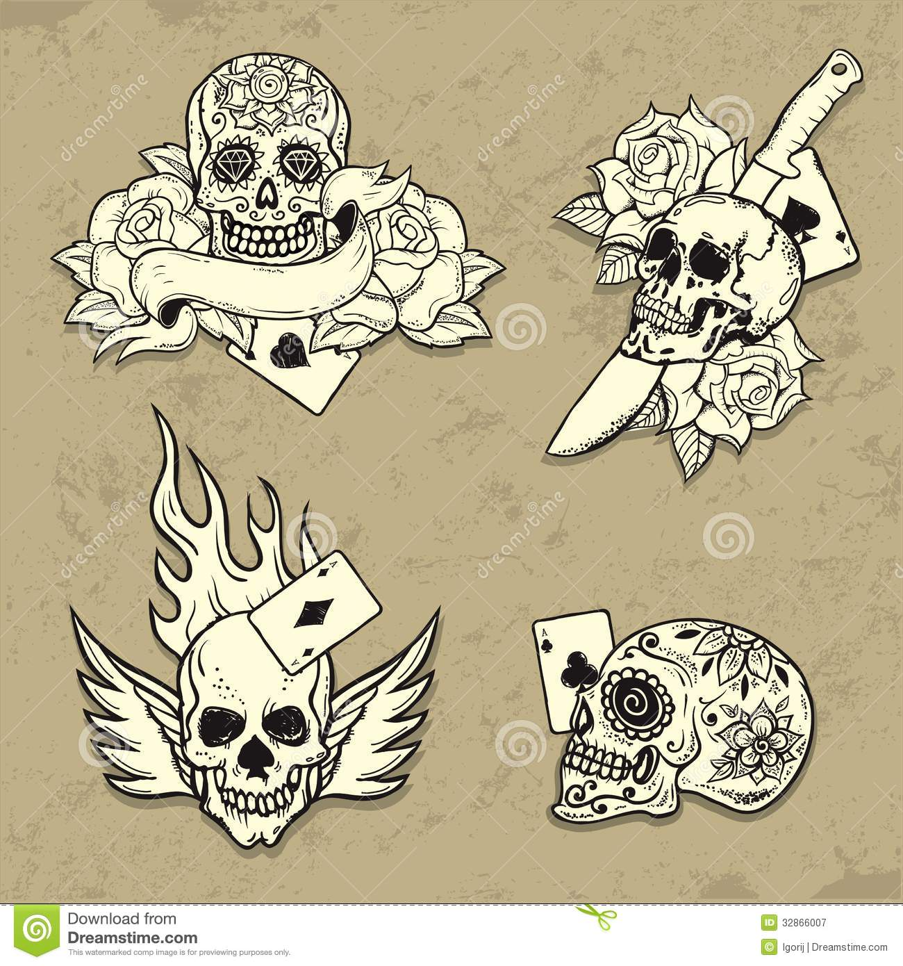 Set Of Old School Tattoo Elements Royalty Free Stock