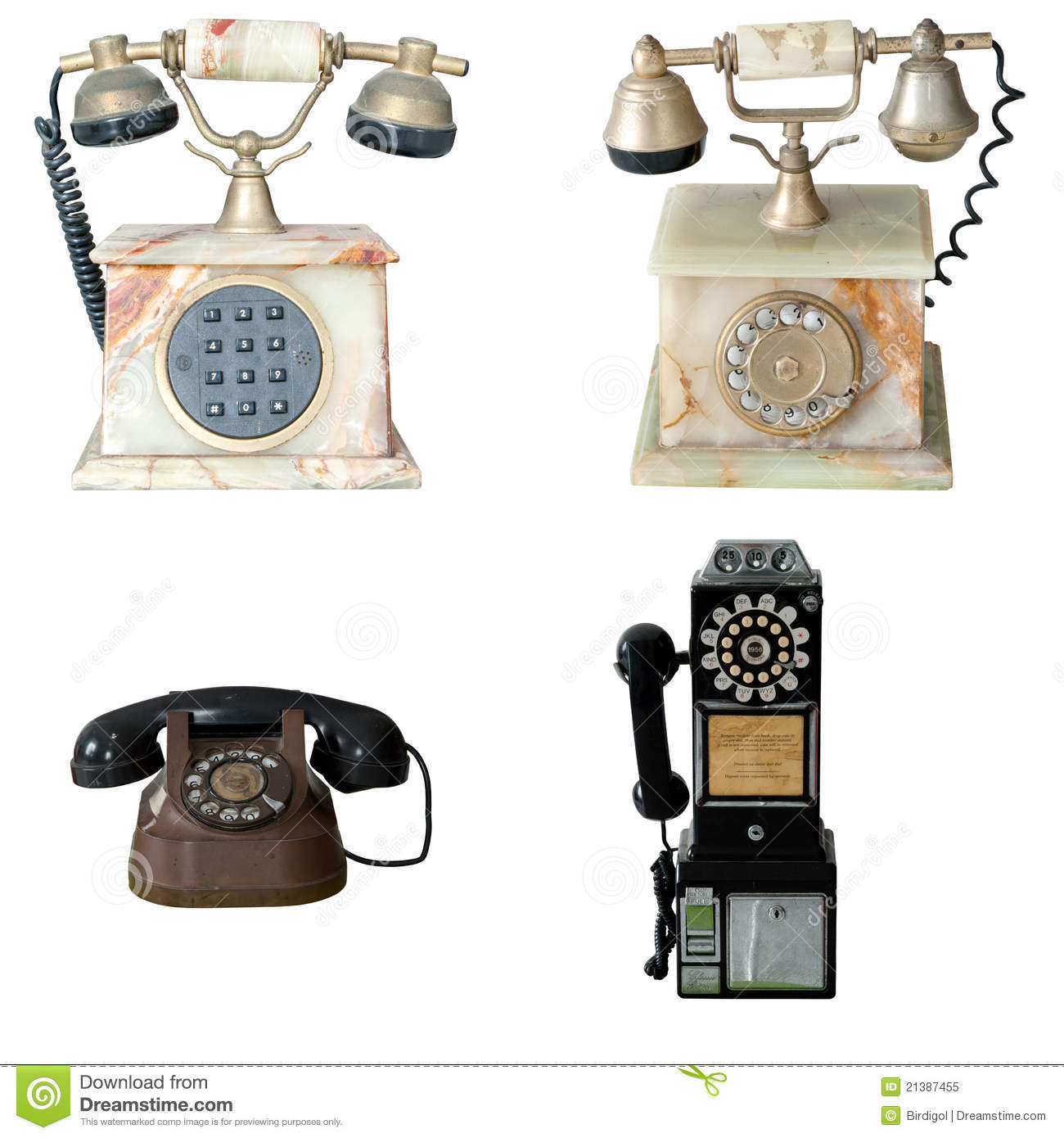 Set of old vintage public pay phone isolated