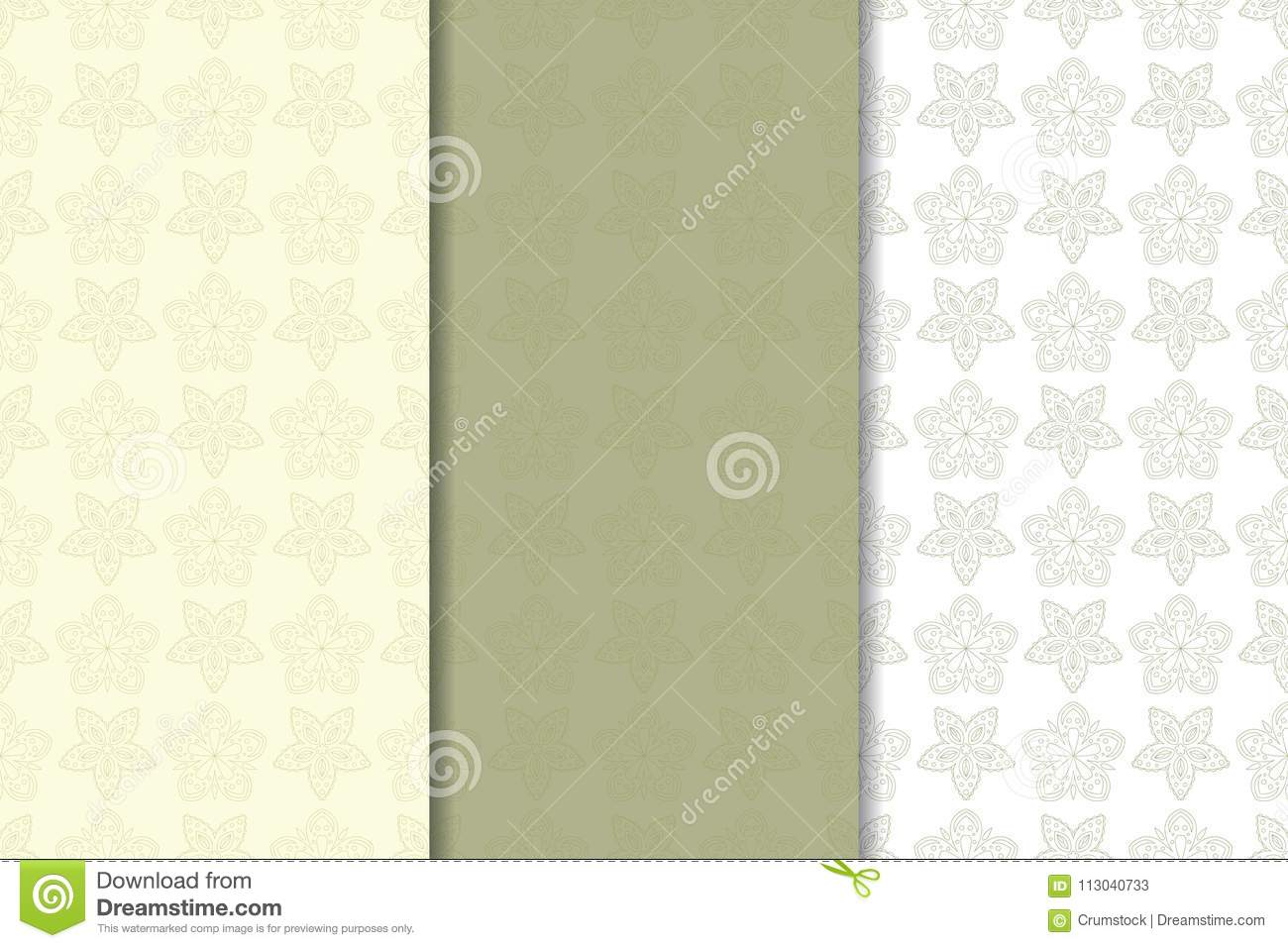 Set of olive green floral backgrounds. Seamless patterns