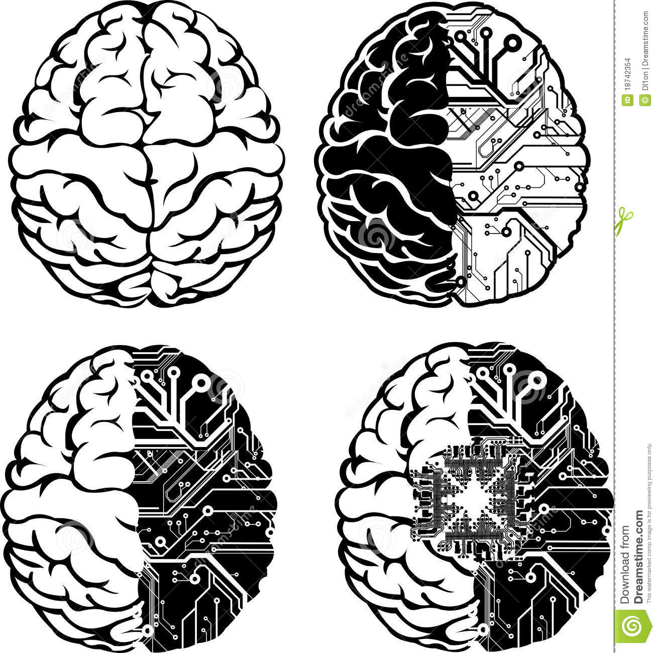 set of one color electronic brain  stock images