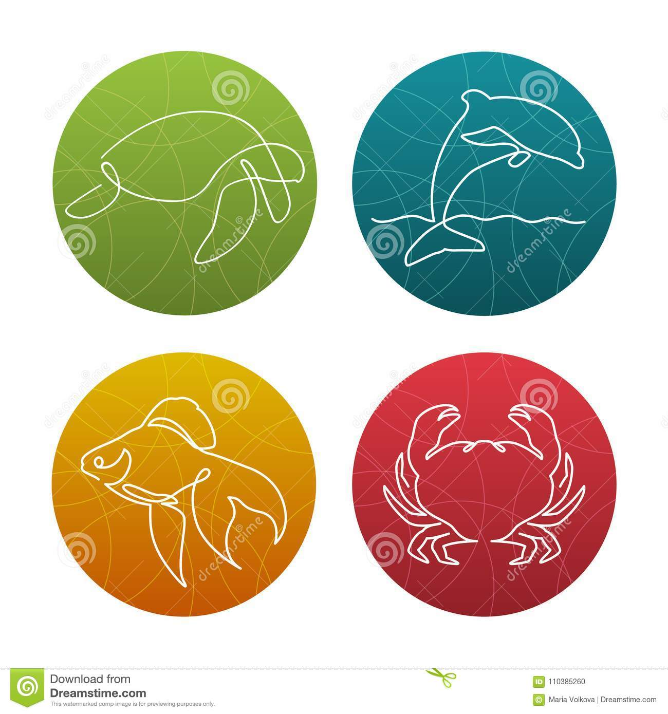 Set of 4 one line sea animals icons or logos. Turtle, gold fish, dolphin, crab
