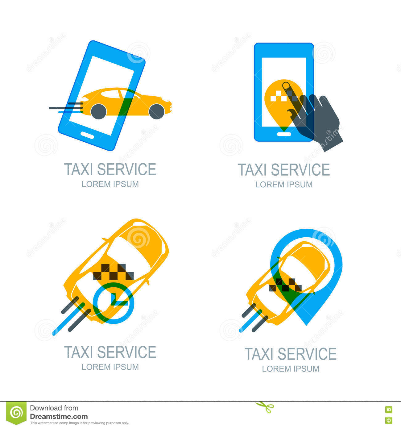 Set of online taxi service logo, icons and symbol. Human hand with mobile phone.
