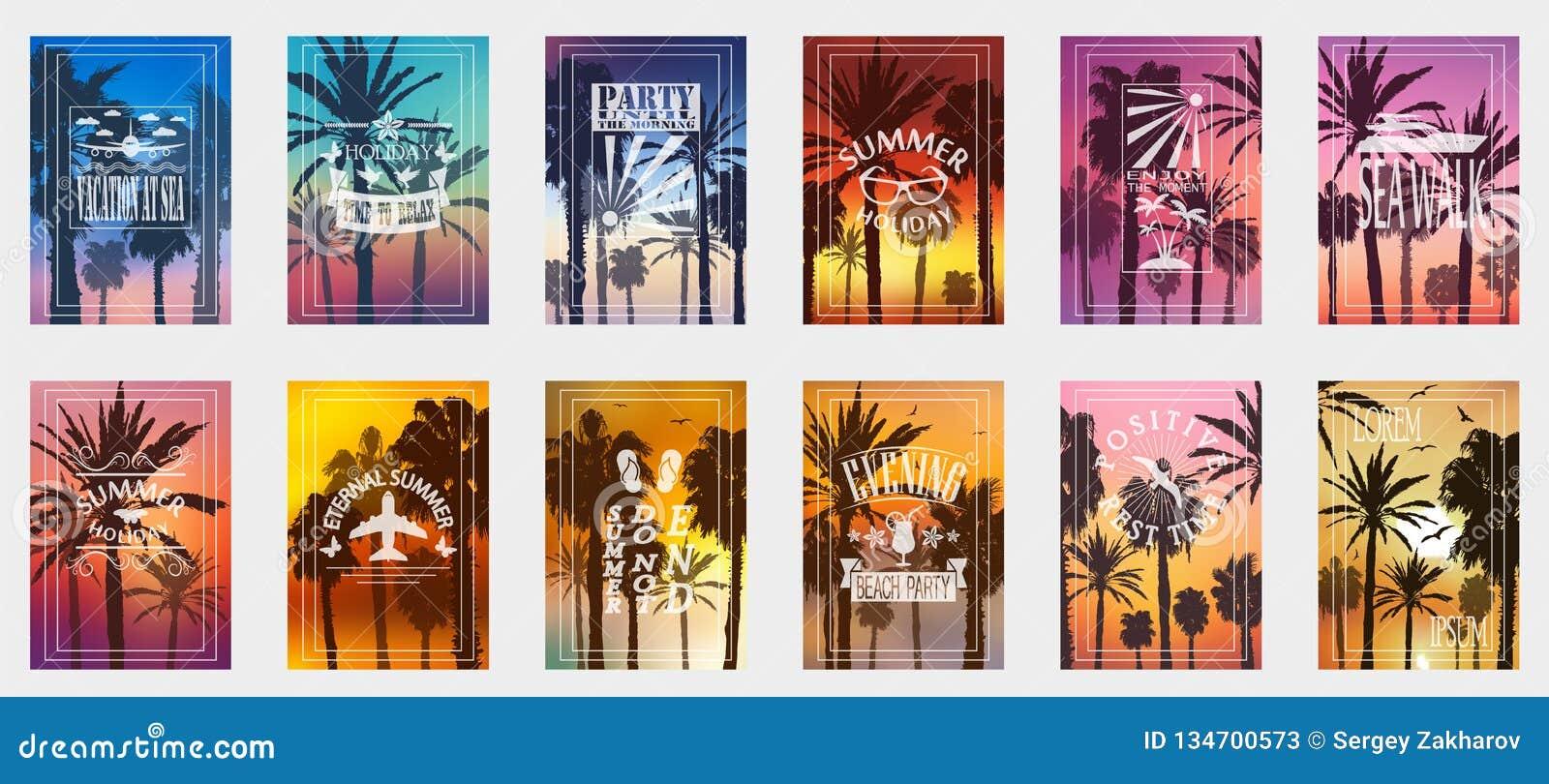 Set 12 opcji dla plakatów z drzewkami palmowymi Dla wszystkie okazji relaksować Dla reklamować, sprzedaże, rabaty, super oferty