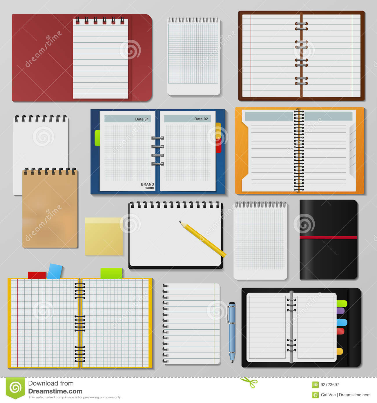Set Of Open Realistic Notebooks Clean Pages Diary Template