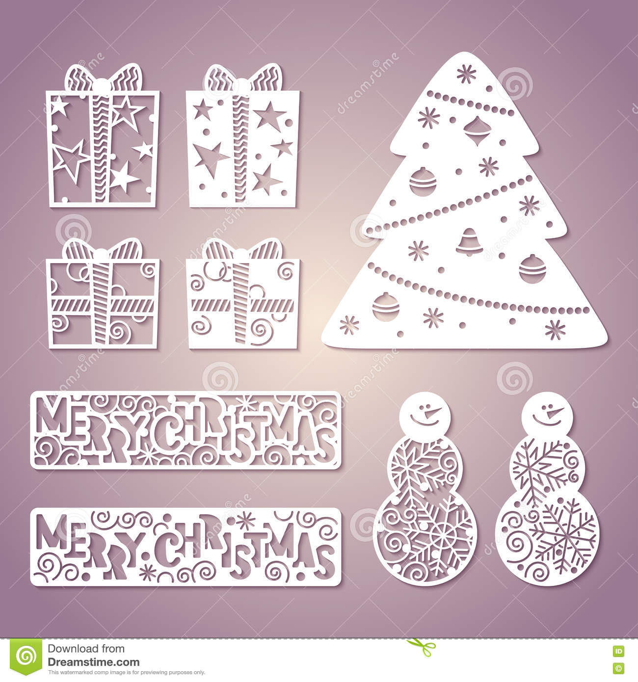 openwork christmas tree laser cutting template stock vector
