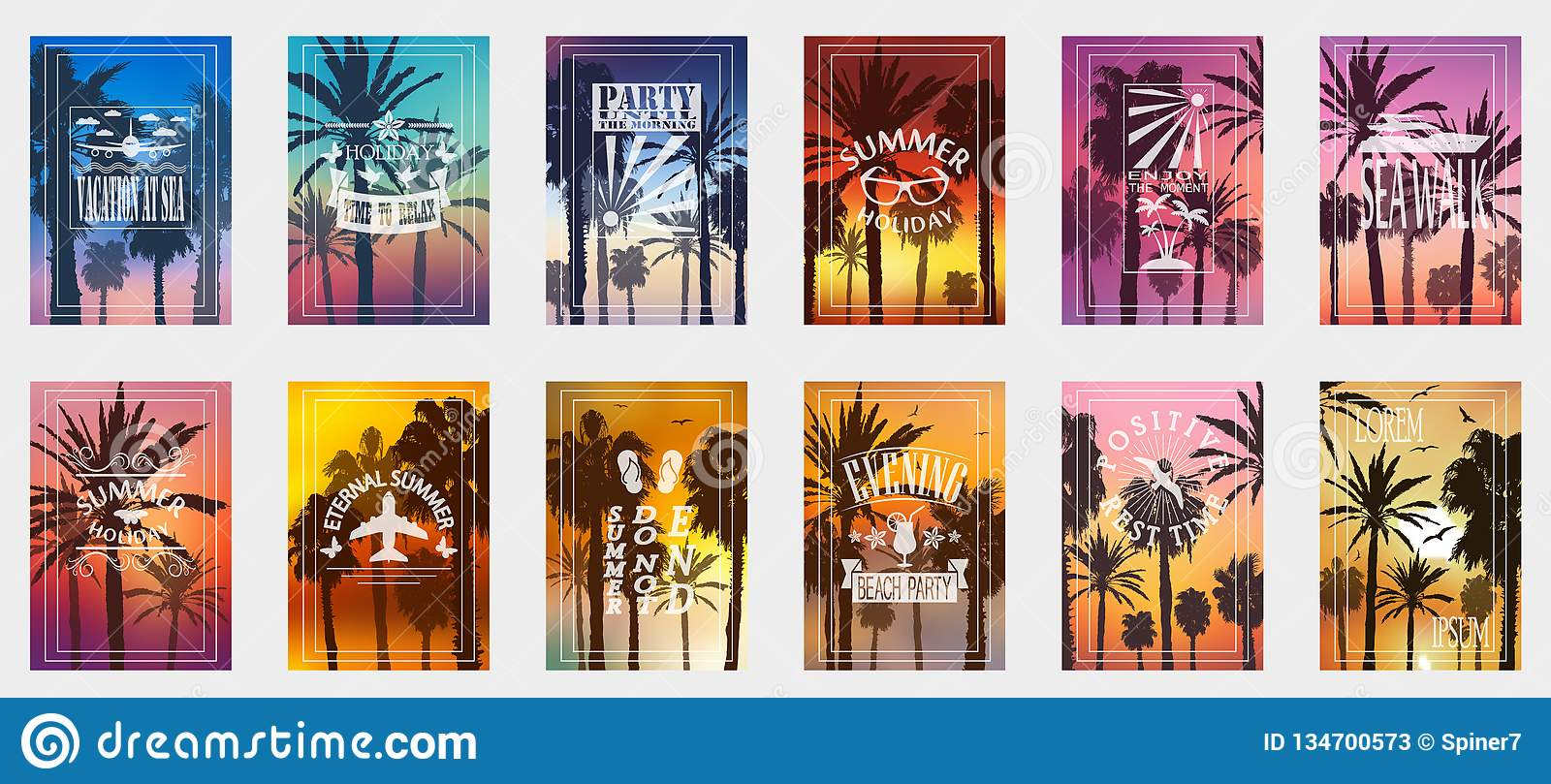 A set of 12 options for posters with palm trees. For all occasions to relax. For advertising, sales, discounts, super offers.
